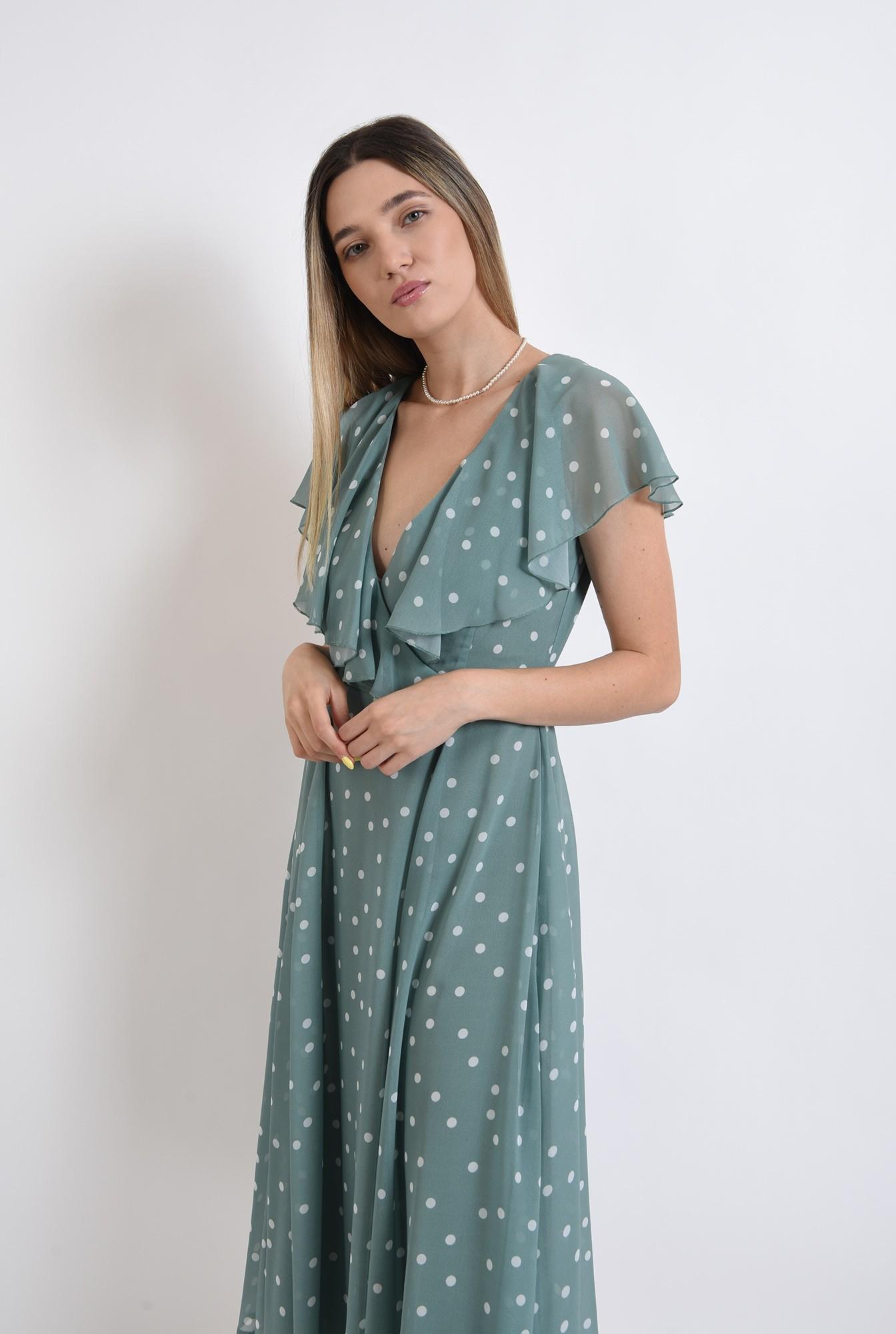 2 - rochie midi, poema, eleganta, cu buline, evazata