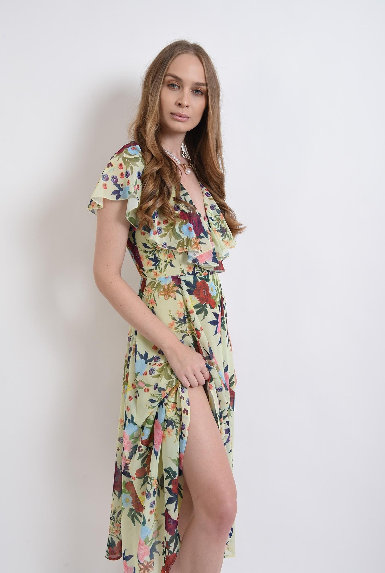 2 -  rochie eleganta, poema, cu flori, evazata, midi