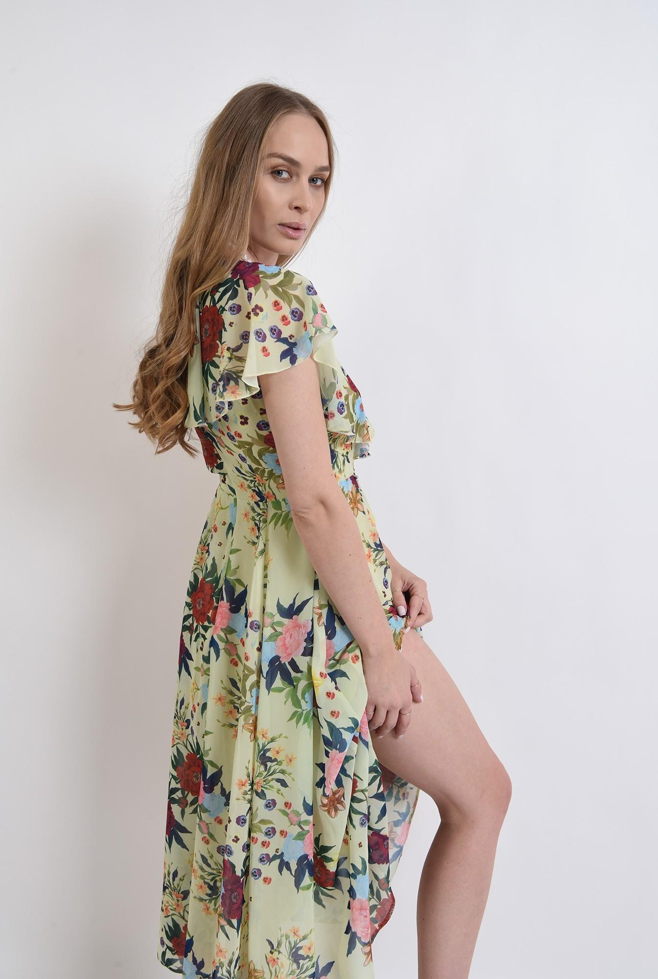 1 -  rochie eleganta, poema, cu flori, evazata, midi