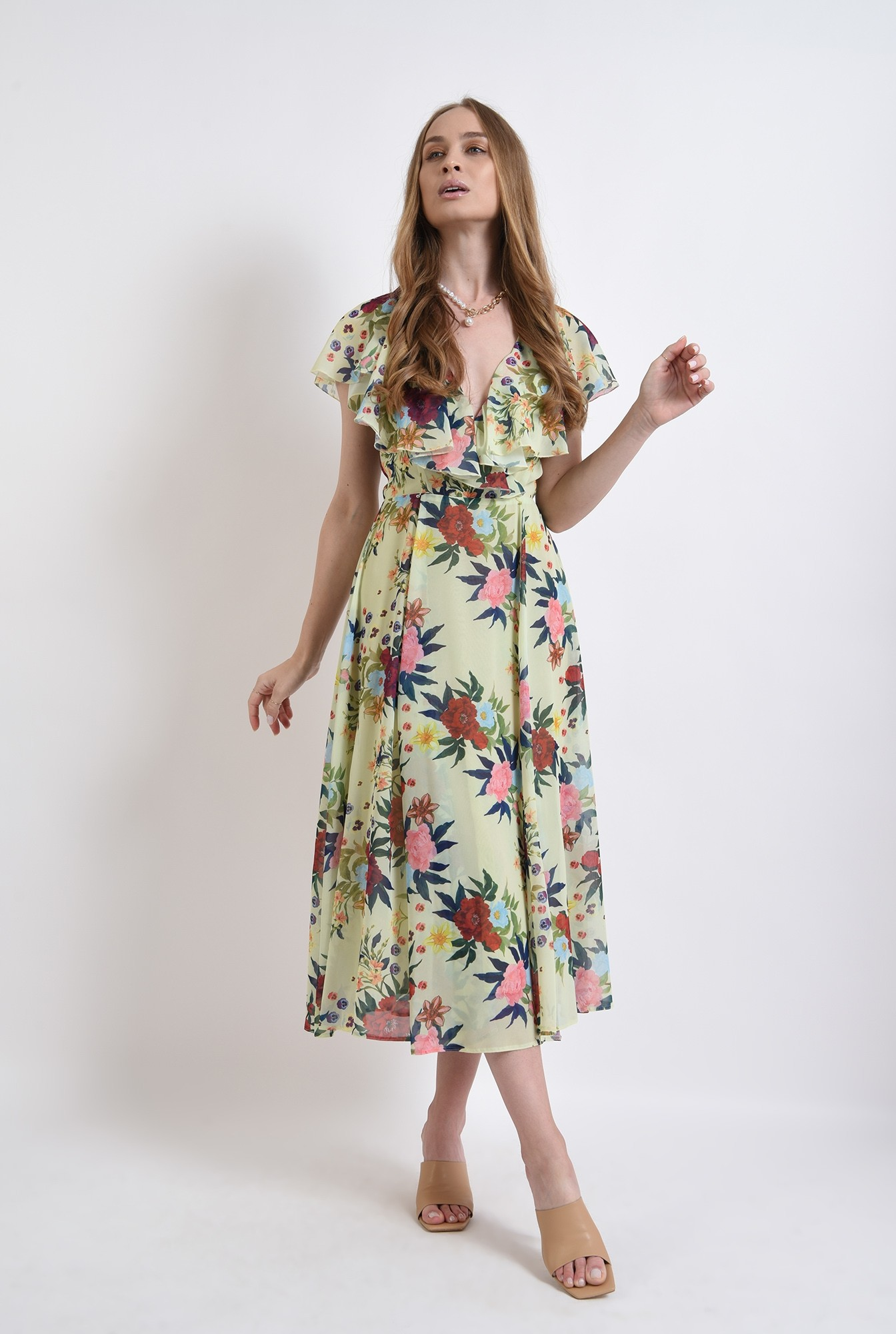 3 -  rochie eleganta, poema, cu flori, evazata, midi
