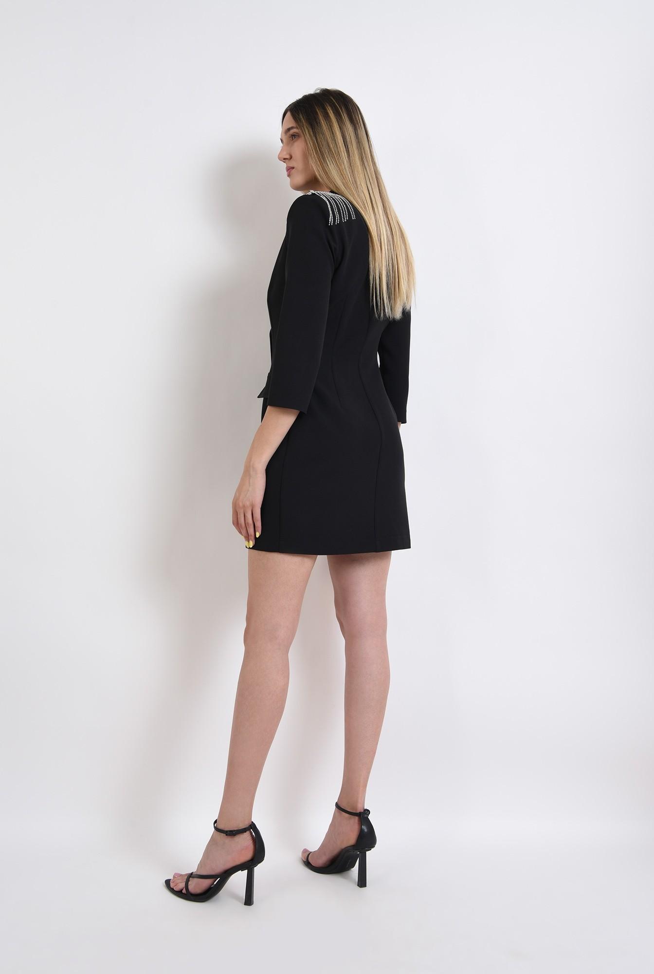 0 - rochie neagra, stil sacou, cu nasturi metalici