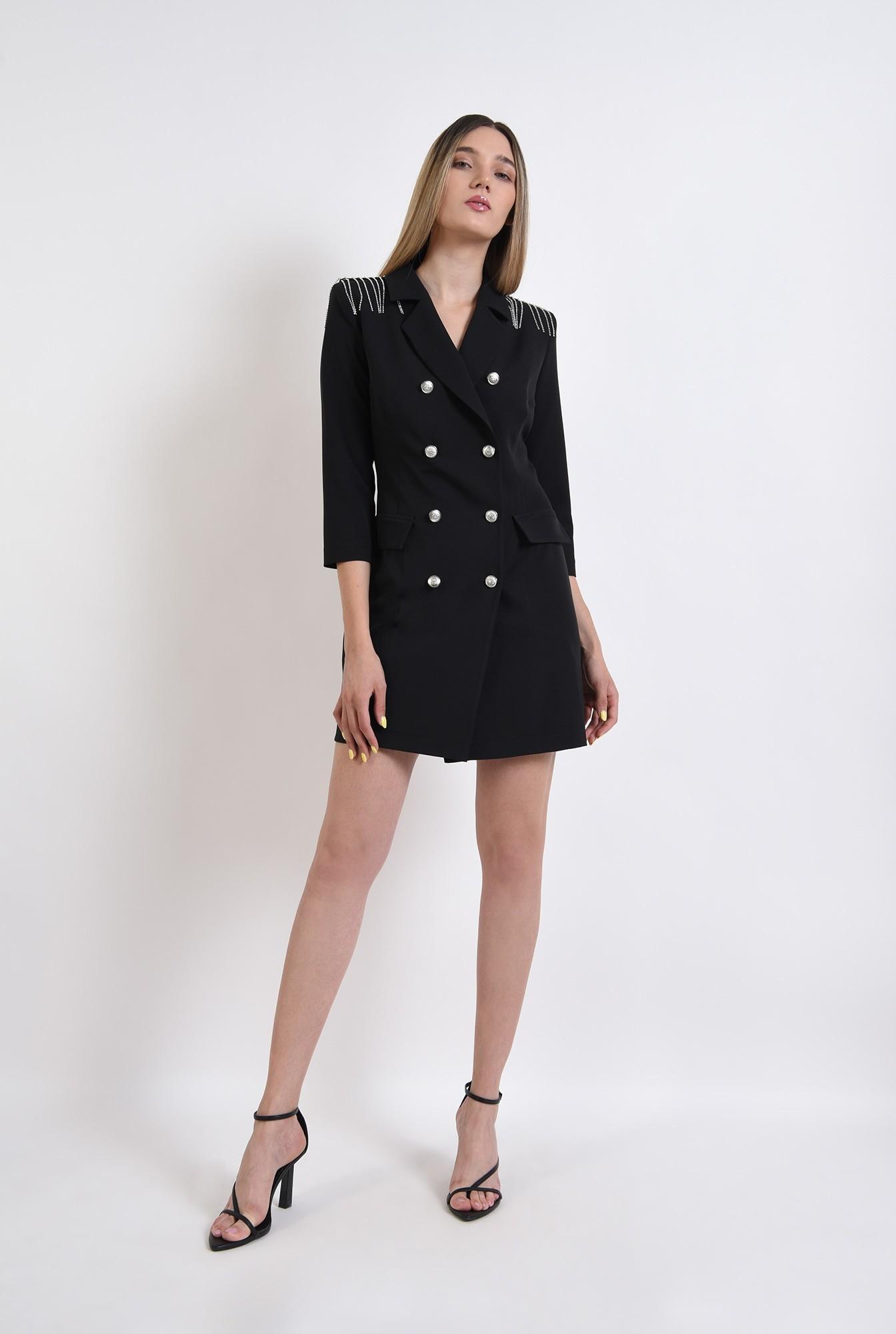 2 - rochie neagra, stil sacou, cu nasturi metalici