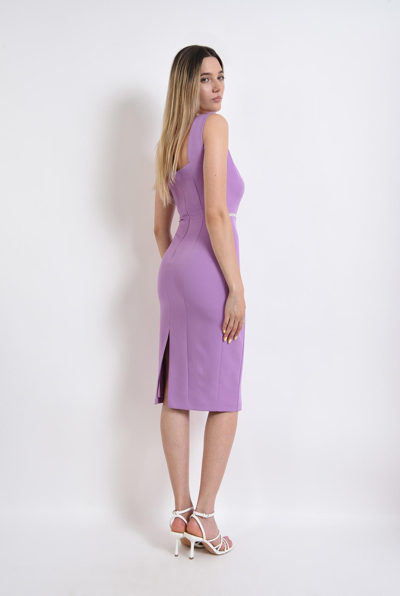 1 - rochie midi, eleganta, lila, aplicatie la talie