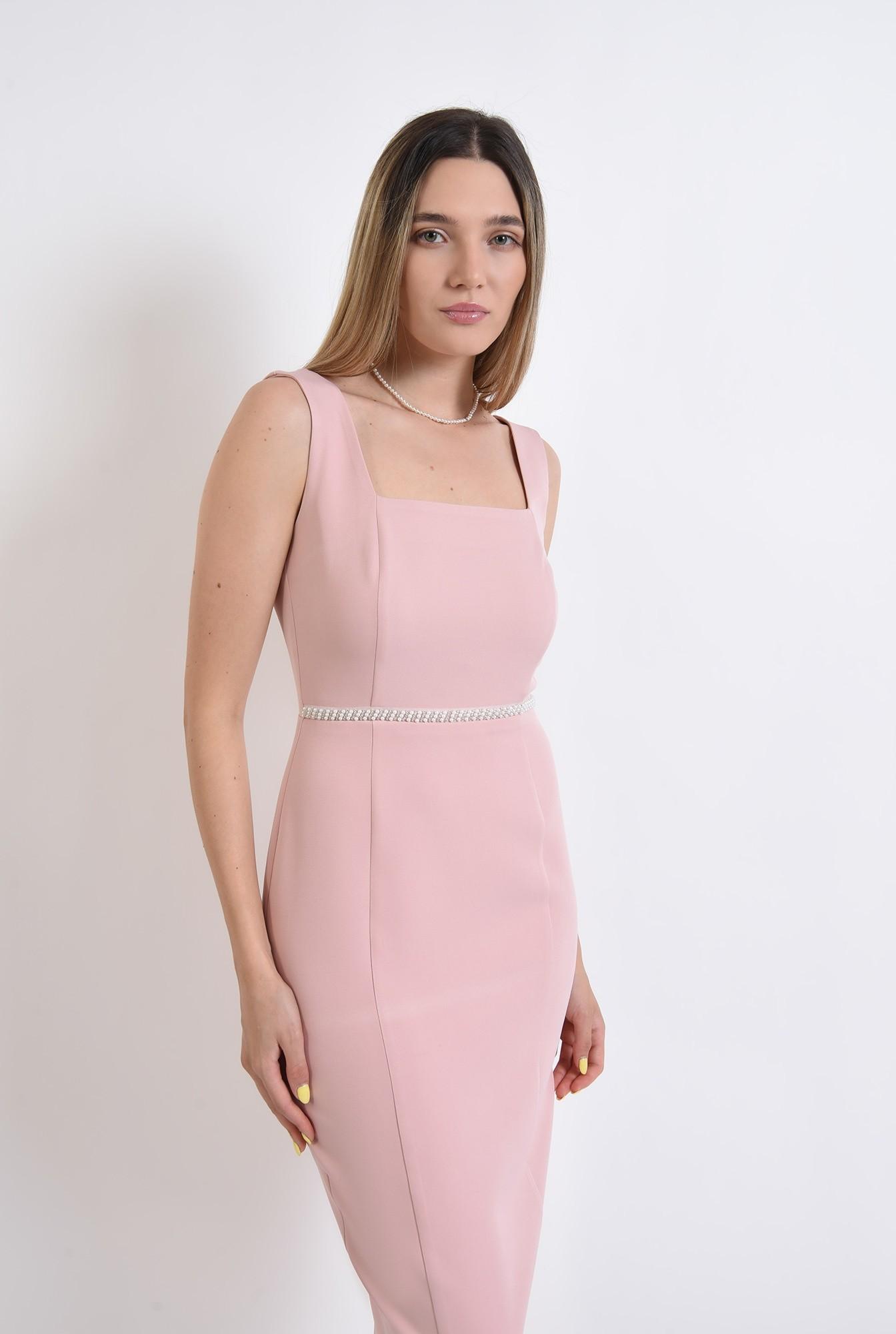 2 -  rochie eleganta, midi, conica, cu bretele, roz