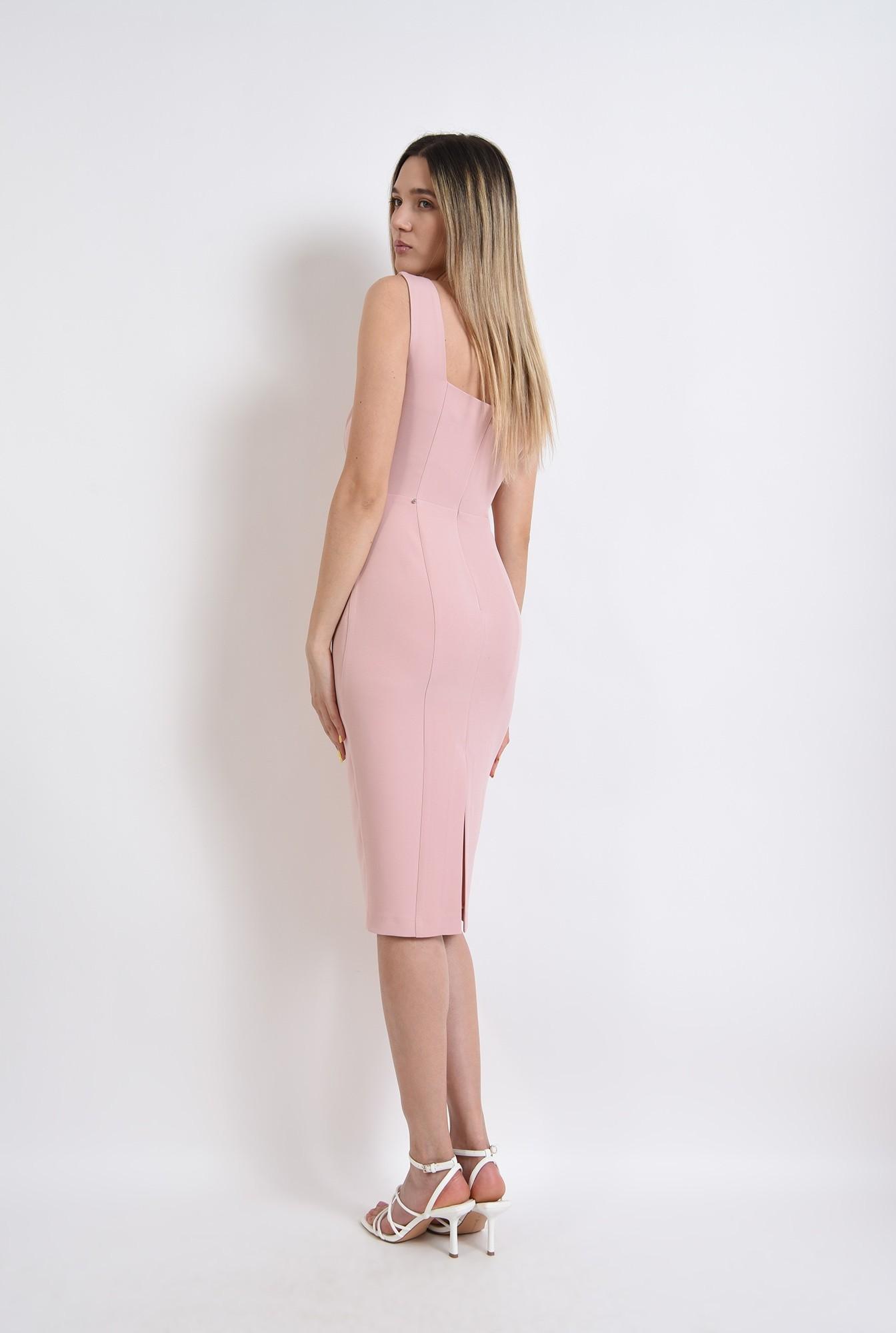 1 -  rochie eleganta, midi, conica, cu bretele, roz