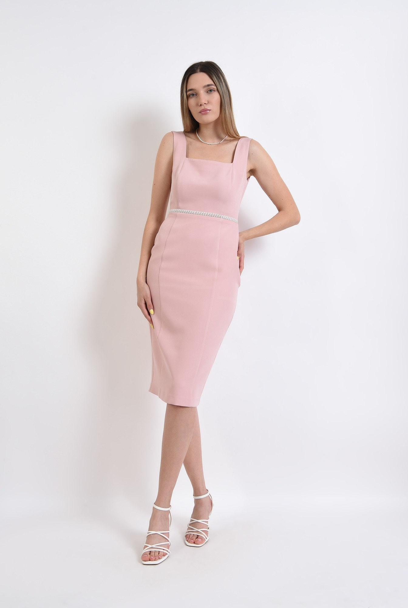3 -  rochie eleganta, midi, conica, cu bretele, roz