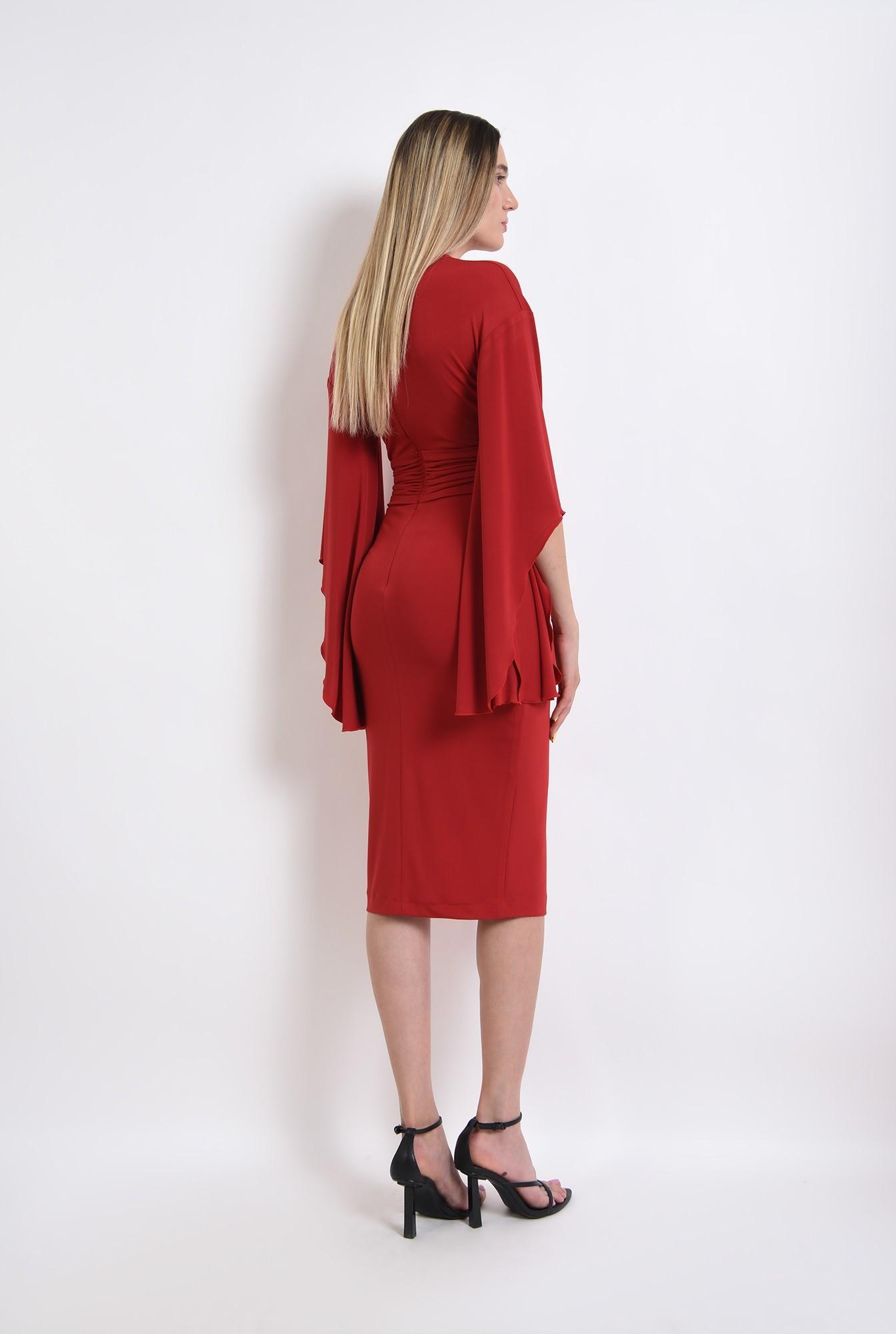 2 - rochie rosie, eleganta, cu maneci evazate