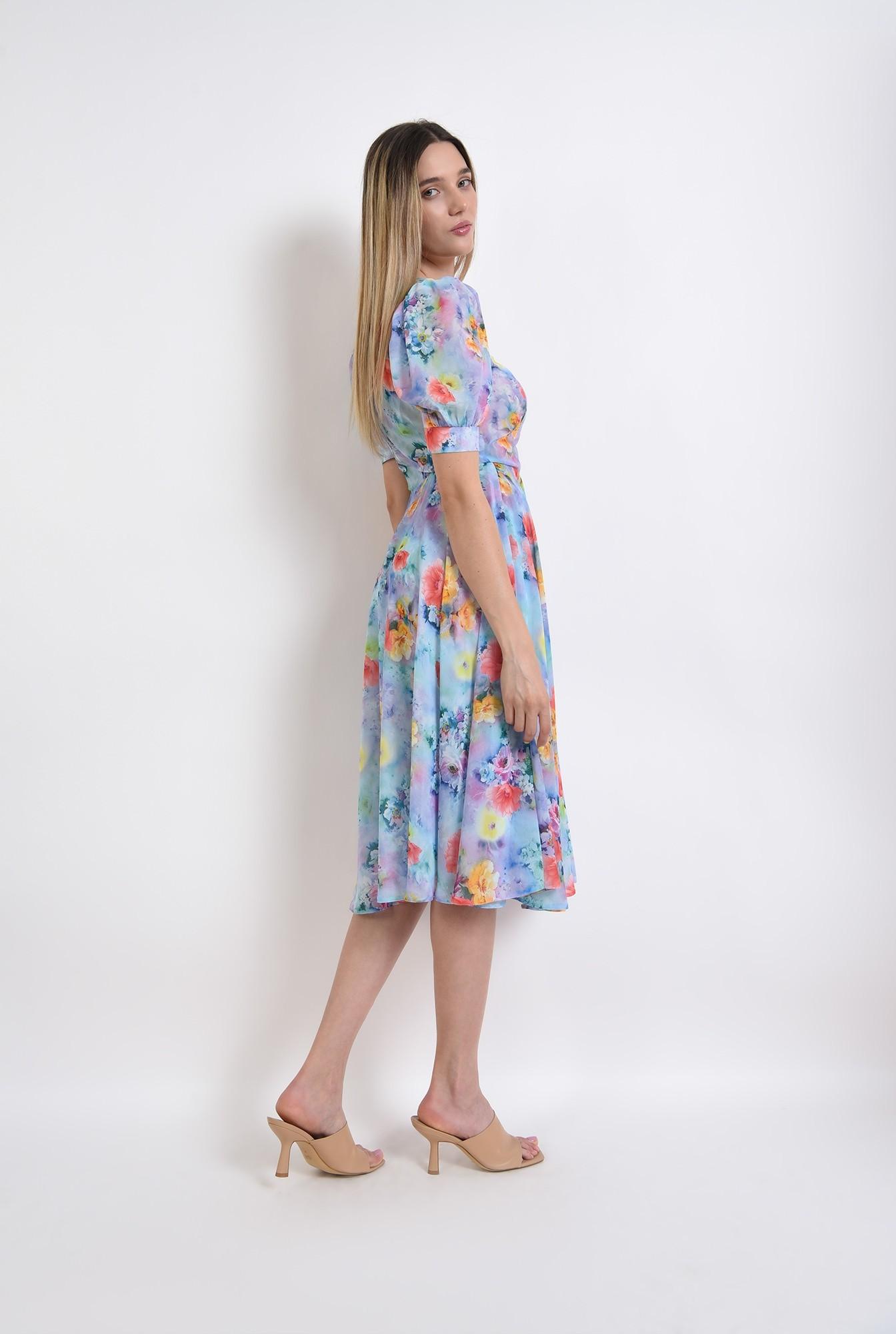 1 - rochie eleganta, cu motive florale, cu umeri accentuari