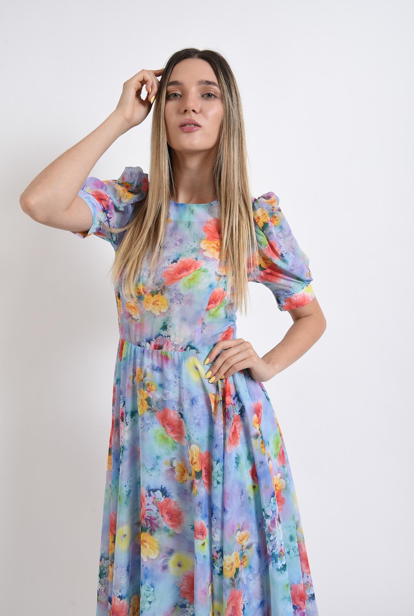 0 - rochie eleganta, cu motive florale, cu umeri accentuari