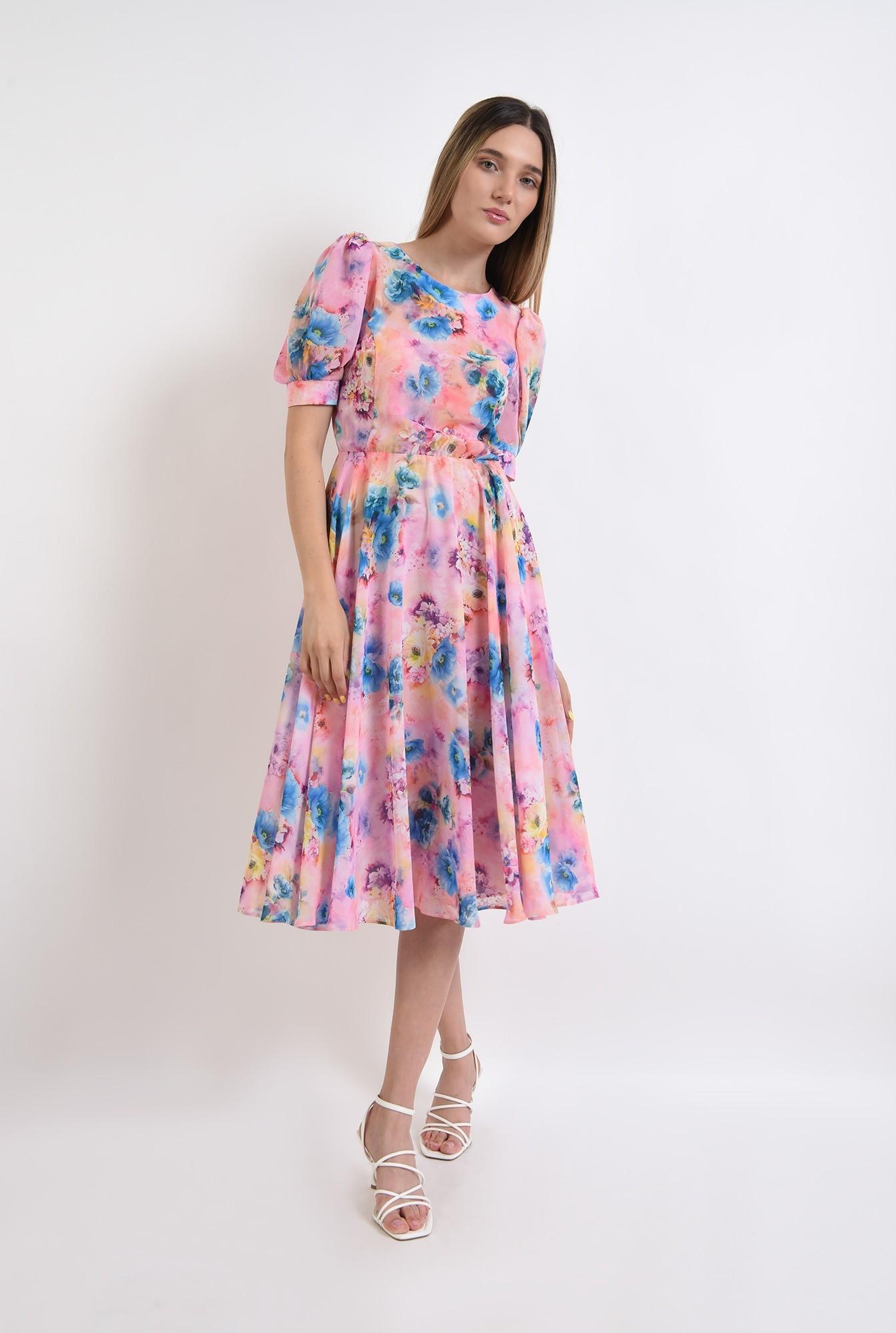 0 - rochie cu motive florale, midi, cu decolteu rotund