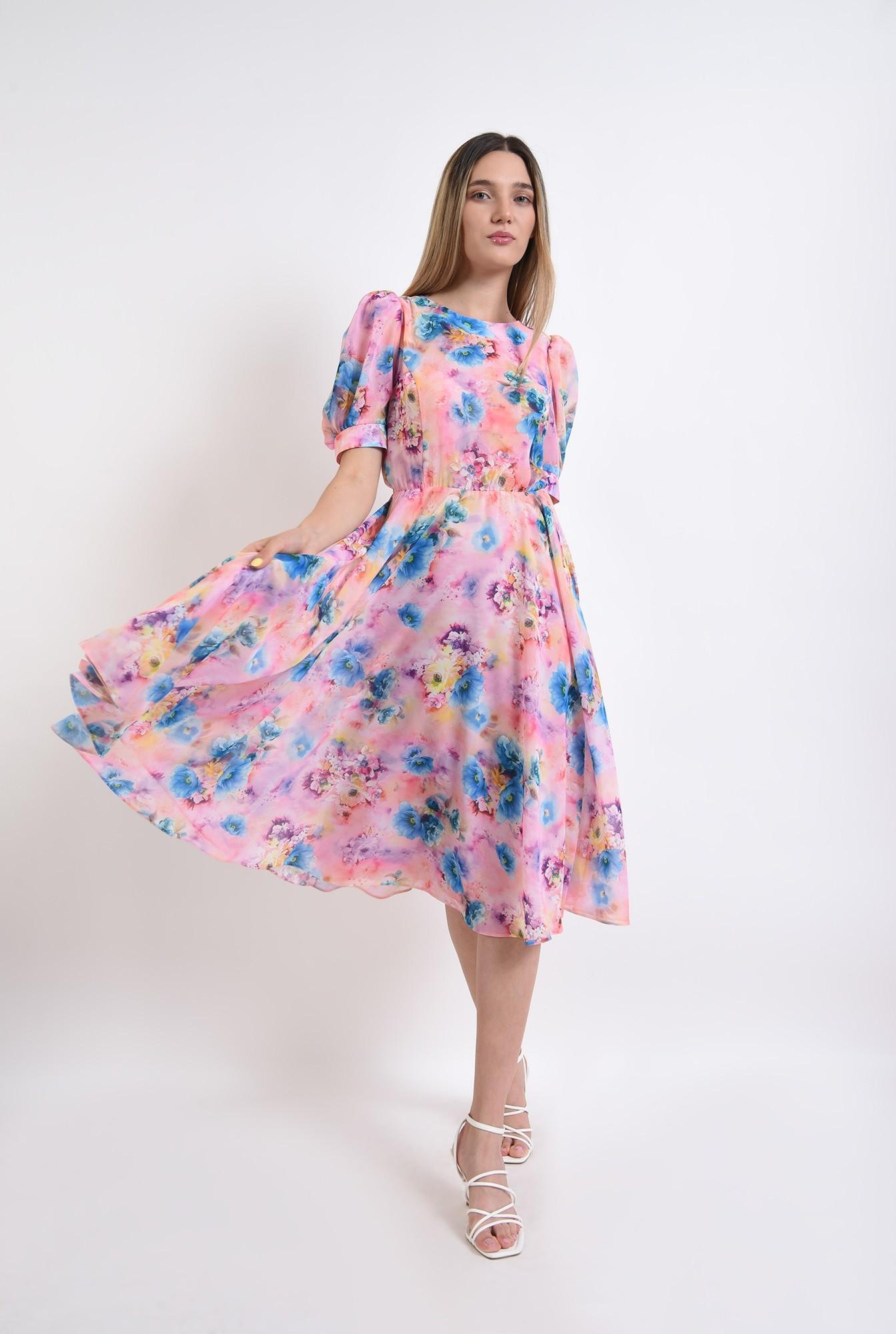 1 - rochie cu motive florale, midi, cu decolteu rotund