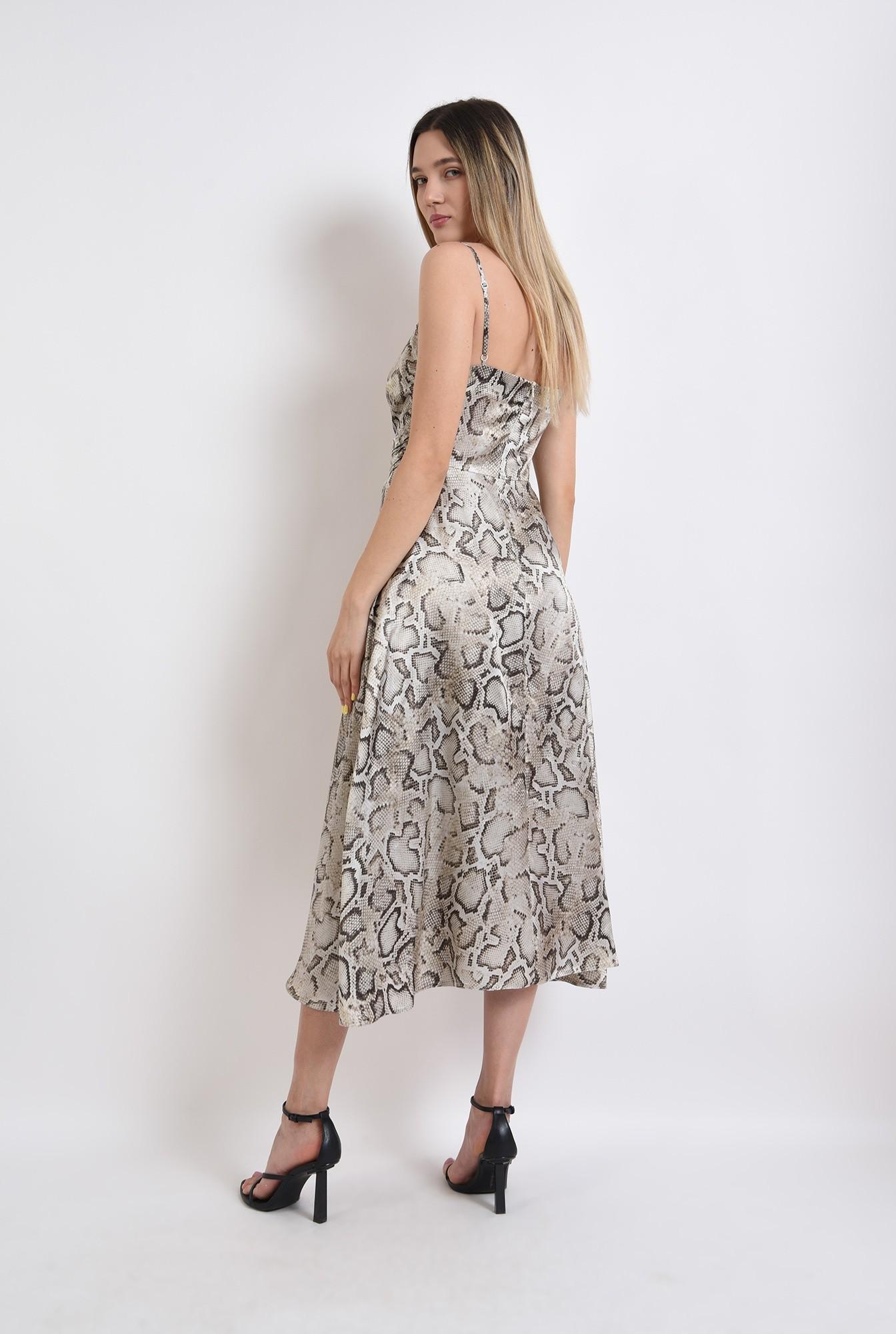 1 - rochie midi, eleganta, animal print, cu decupaj, fronsata pe accesoriu