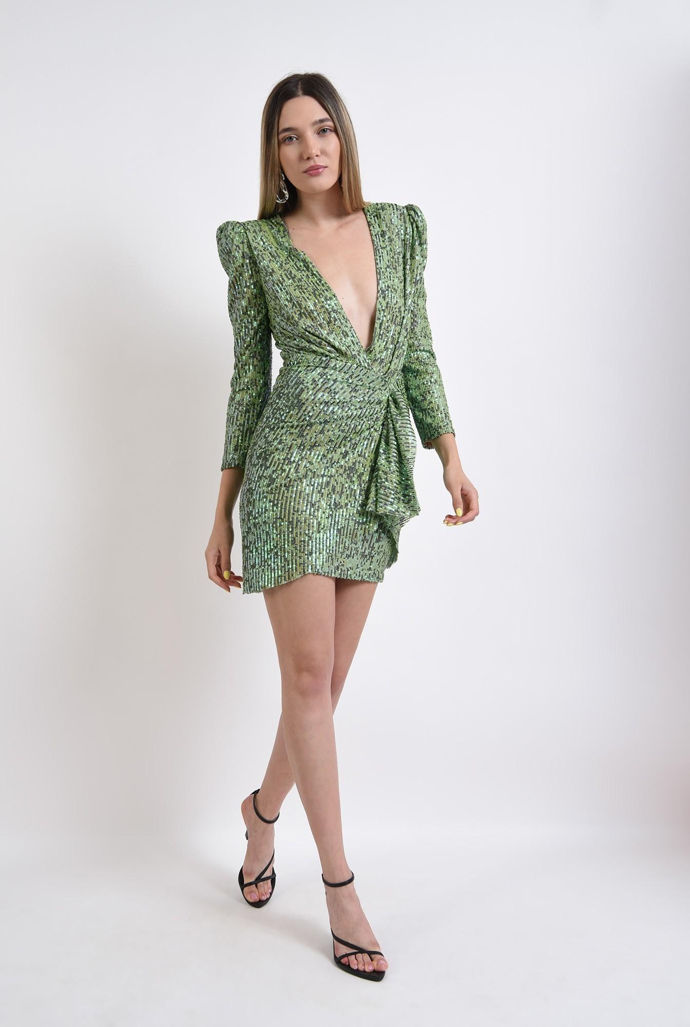 1 - rochie scurta, eleganta, paiete, decolteu adanc, verde