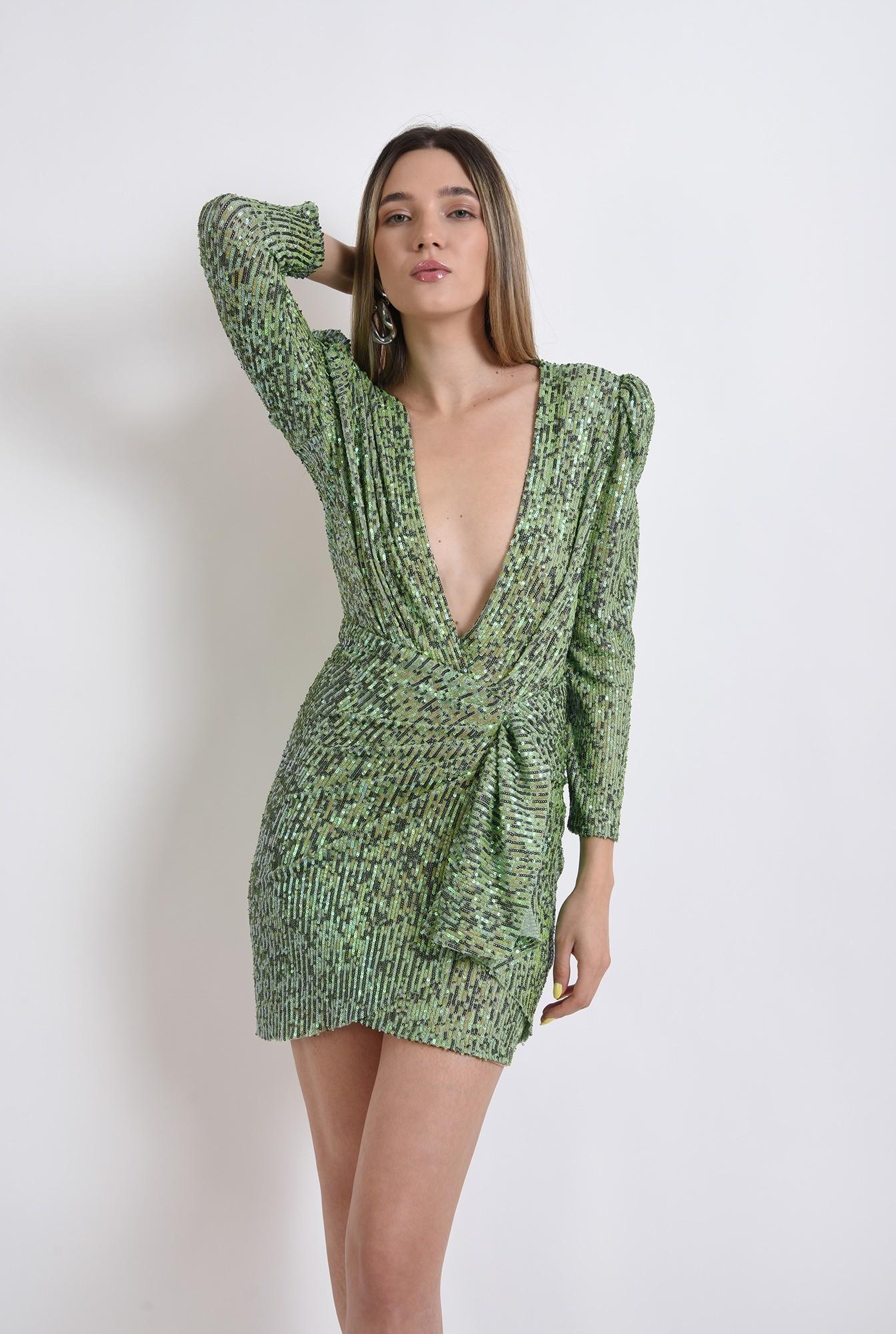 0 - rochie scurta, eleganta, paiete, decolteu adanc, verde