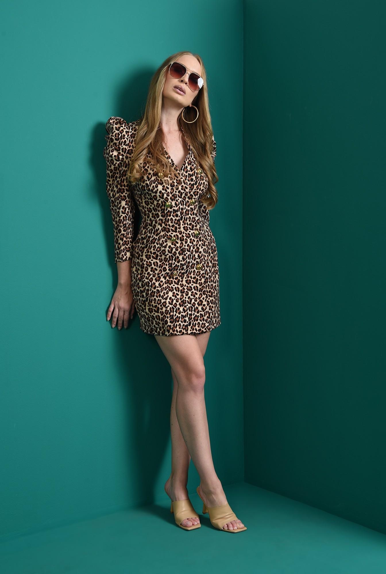 0 - rochie mini, animal print, cu umeri accentuati
