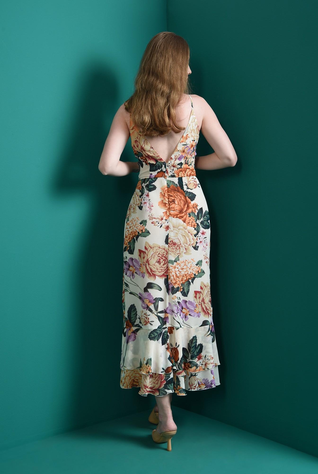 2 - rochie cu decolteu suprapus, cu flori