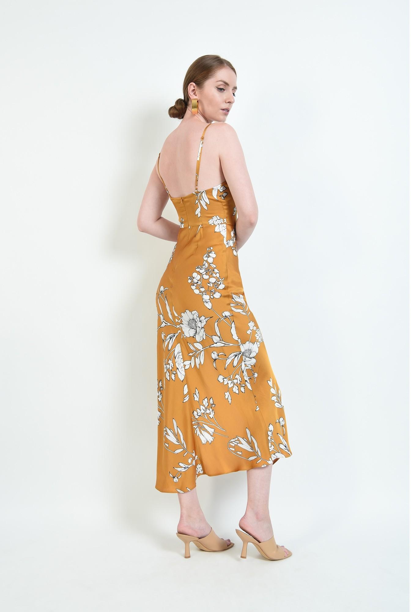 2 - rochie mustar, cu motive florale, cu bretele subtiri