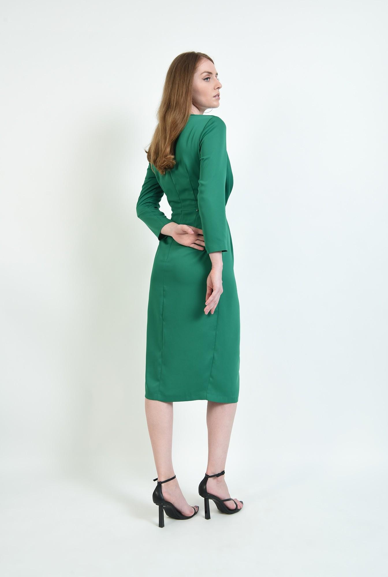 1 - rochie de ocazie, verde, cu detaliu la talie