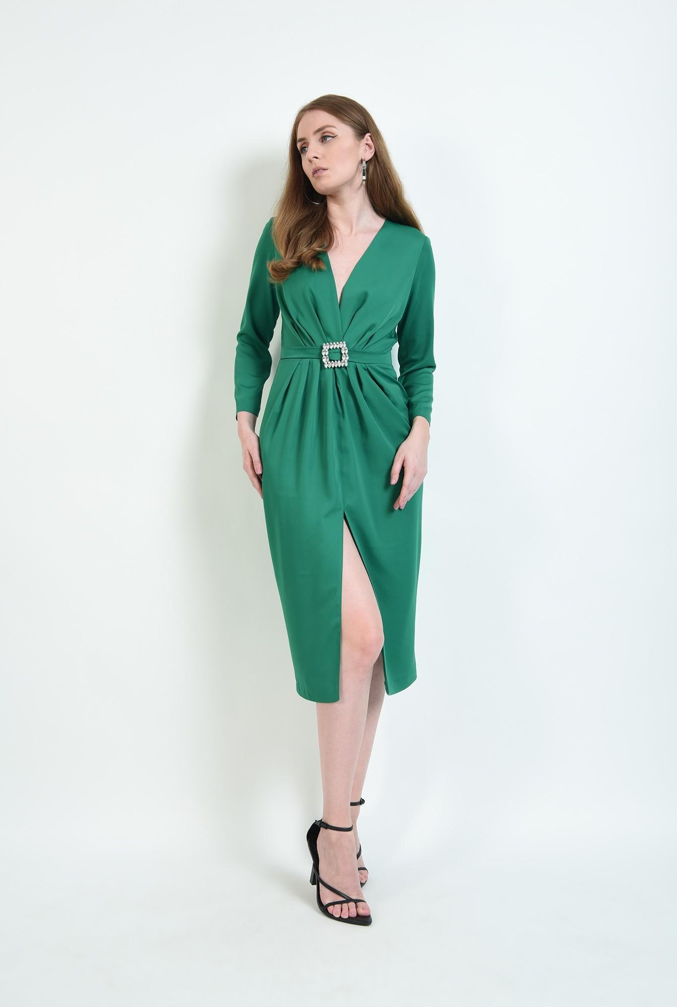 0 - rochie de ocazie, verde, cu detaliu la talie