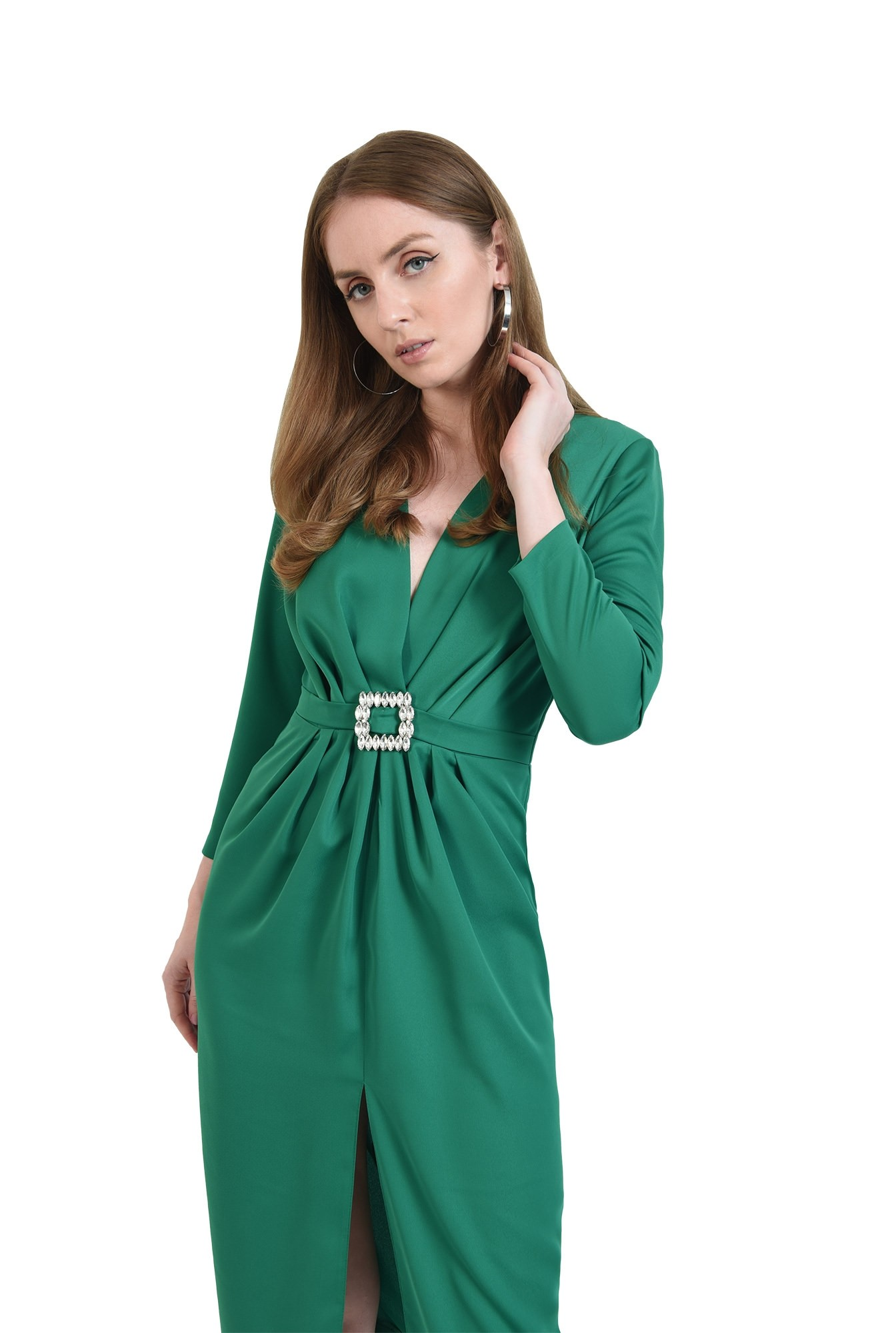 3 - rochie de ocazie, verde, cu detaliu la talie
