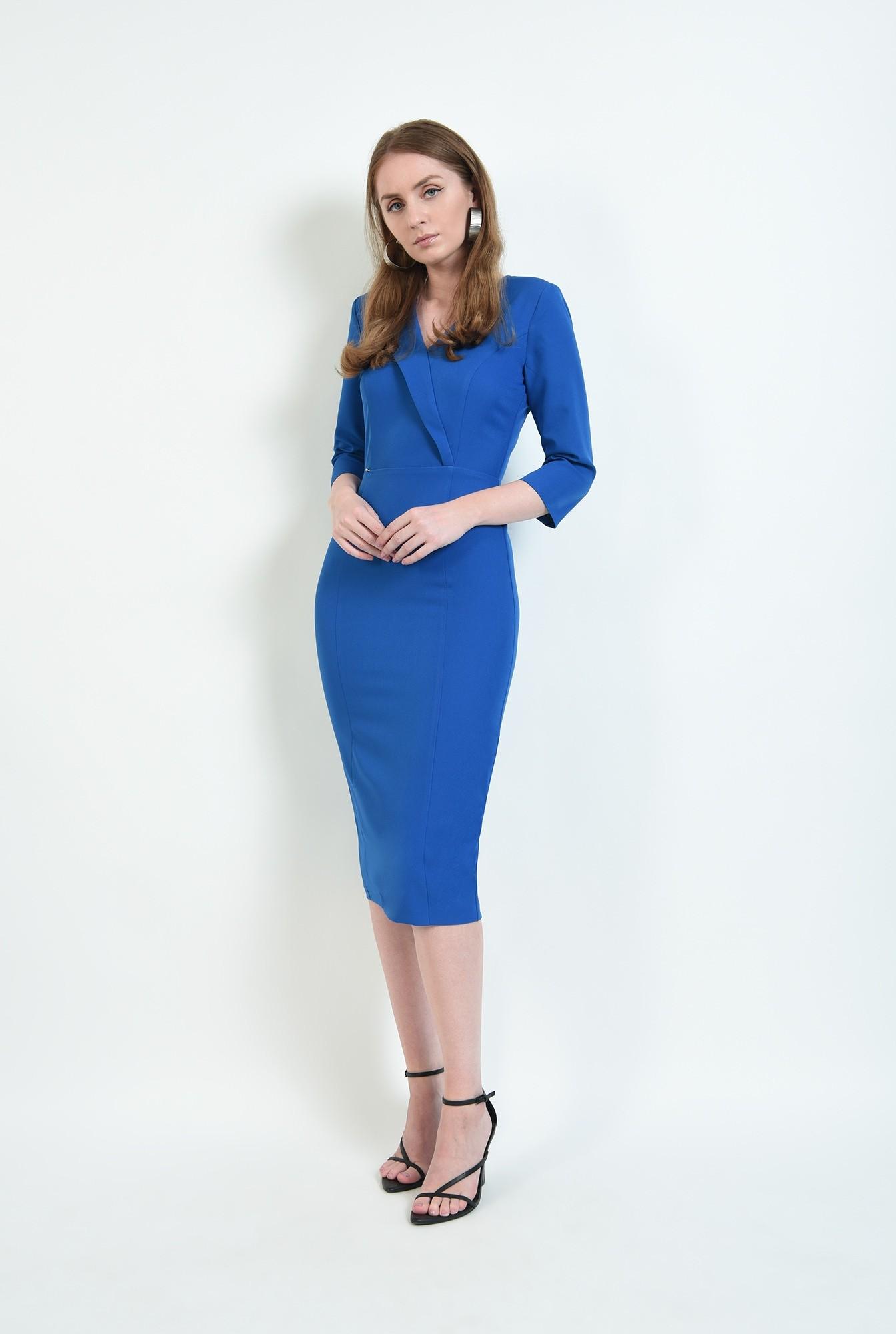 1 - rochie albastra, midi, conica