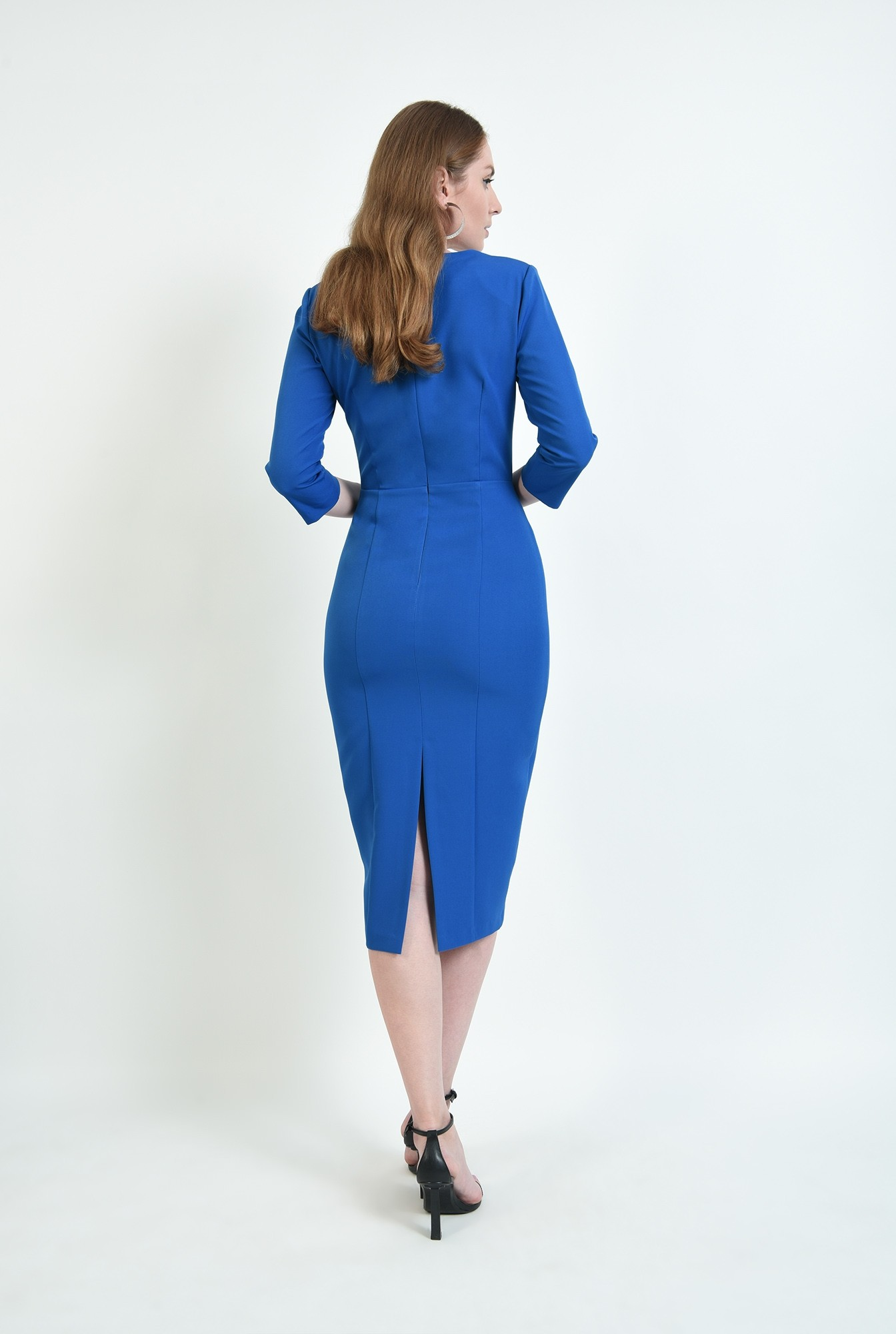 2 - rochie albastra, midi, conica