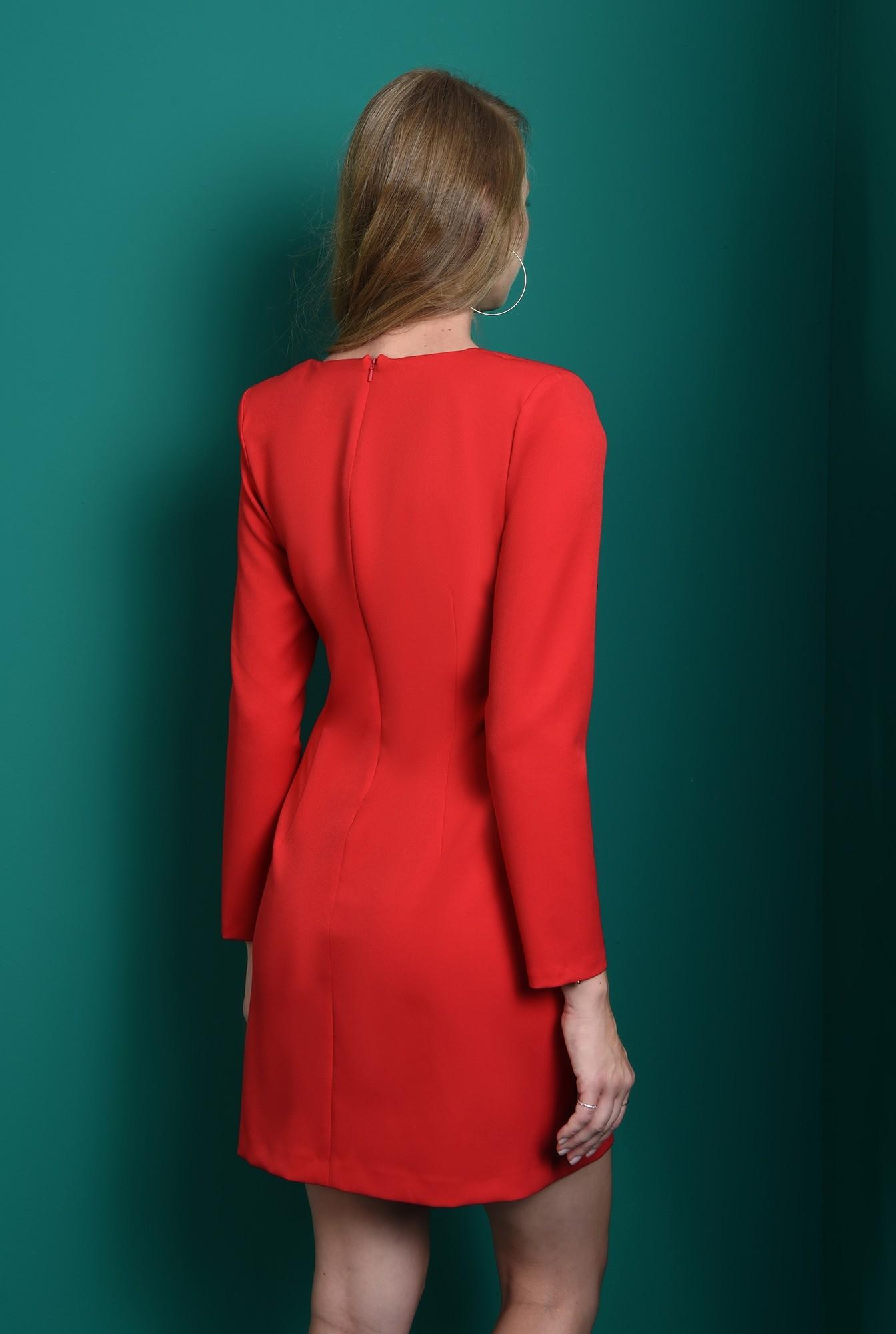 2 - rochie rosie, cu nasturi aurii, cu maneca lunga