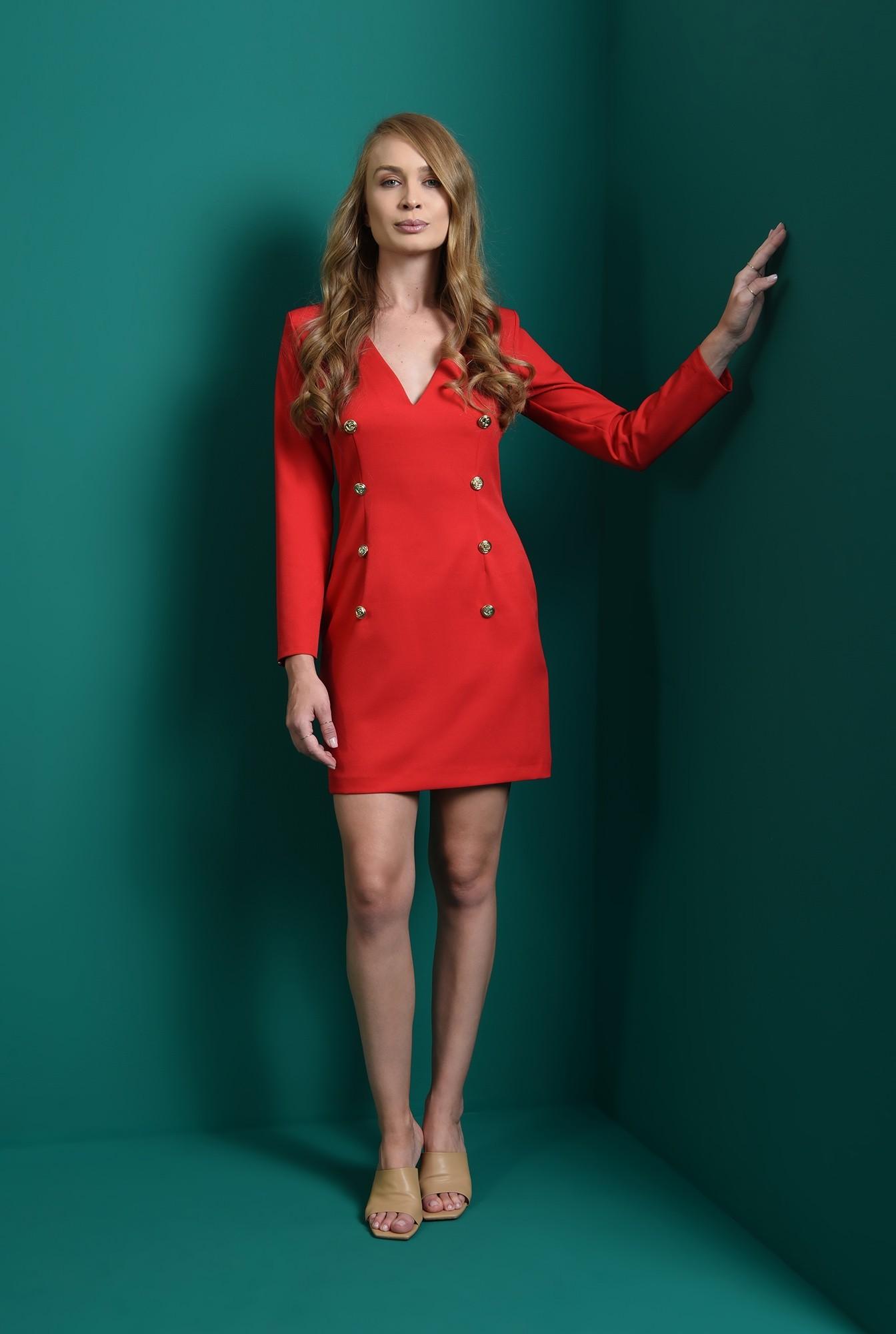 1 - rochie rosie, cu nasturi aurii, cu maneca lunga