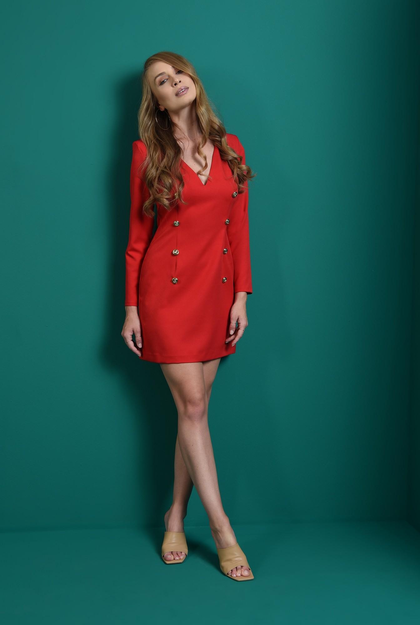 0 - rochie rosie, cu nasturi aurii, cu maneca lunga