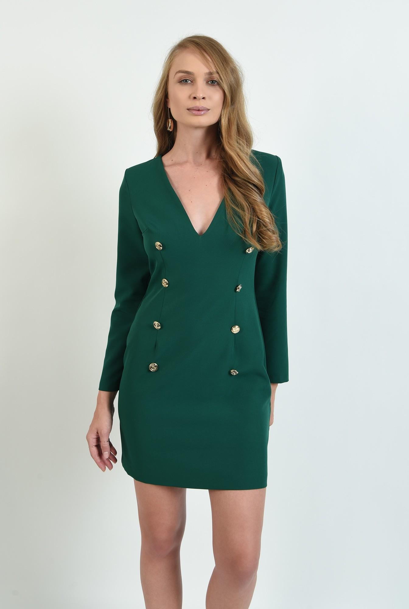 1 - rochie verde, scurta, cu nasturi multipli