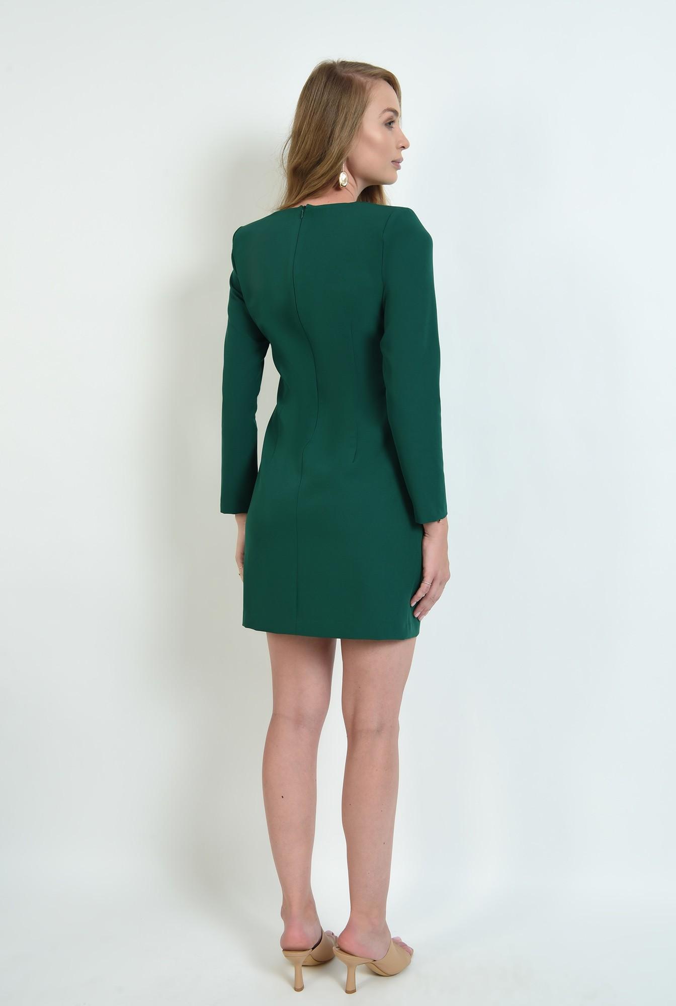 2 - rochie verde, scurta, cu nasturi multipli