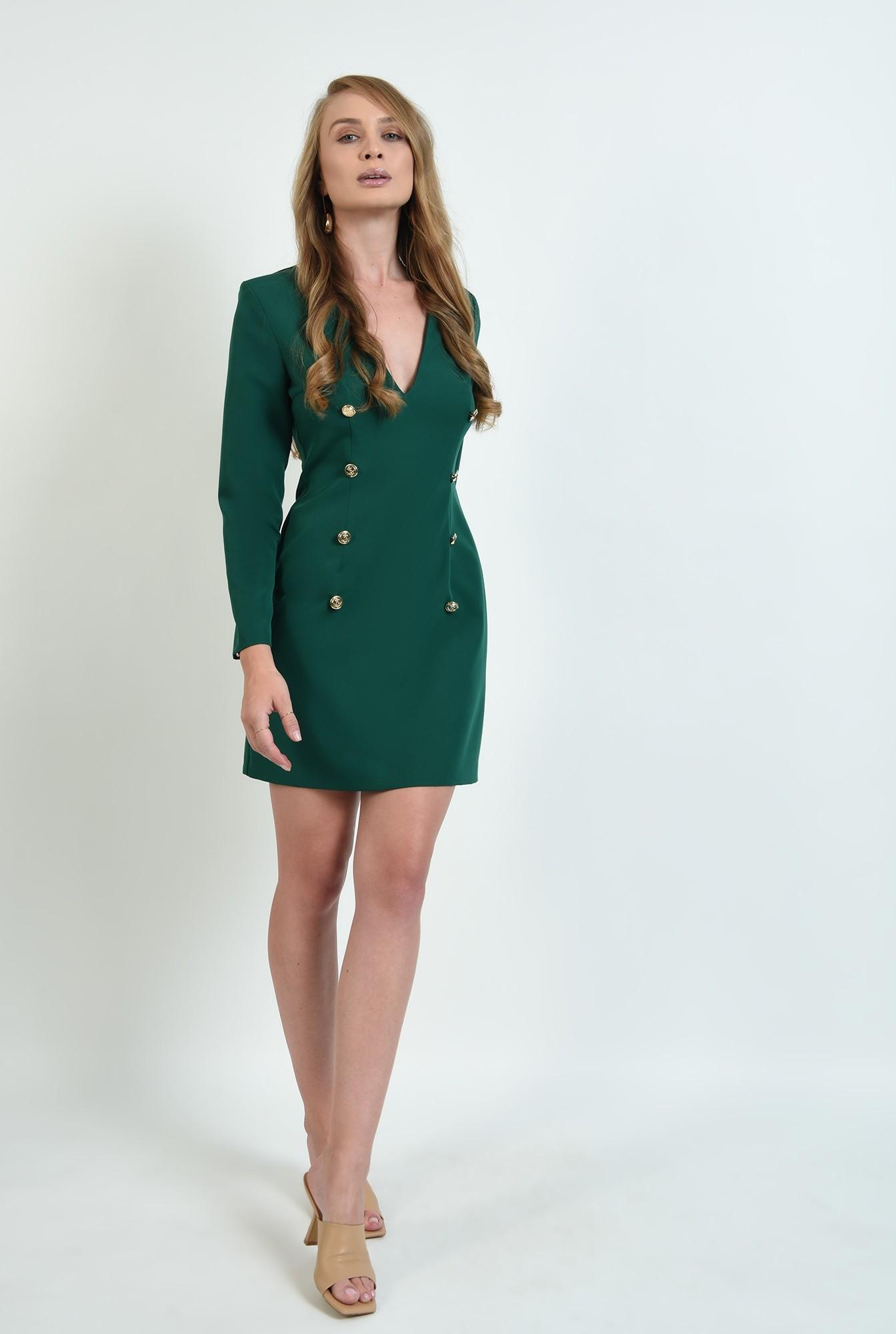 0 - rochie verde, scurta, cu nasturi multipli