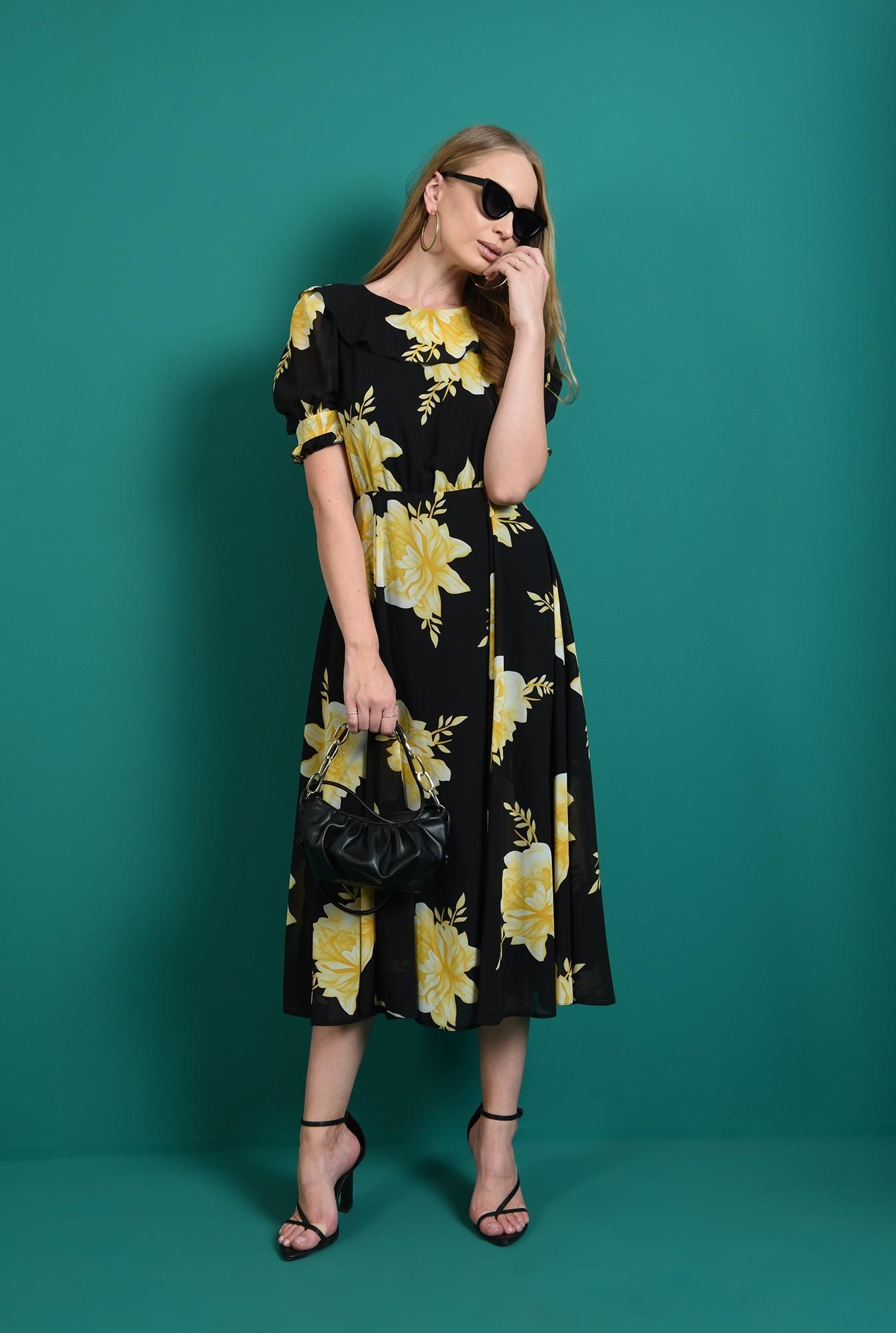 1 - rochie cu motive florale, evazata, Poema