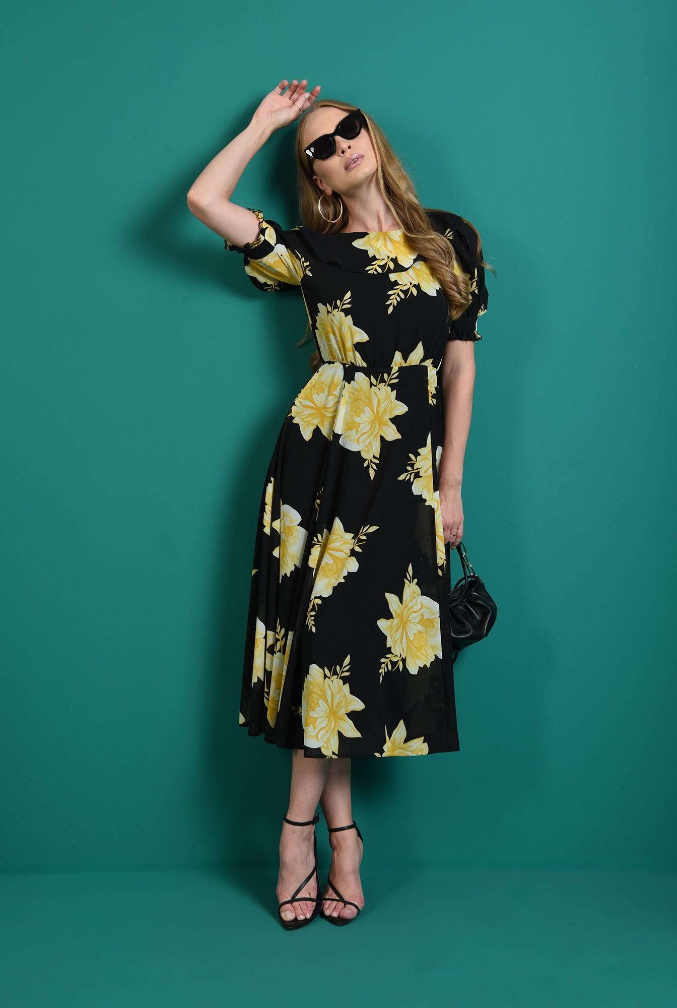 0 - rochie cu motive florale, evazata, Poema