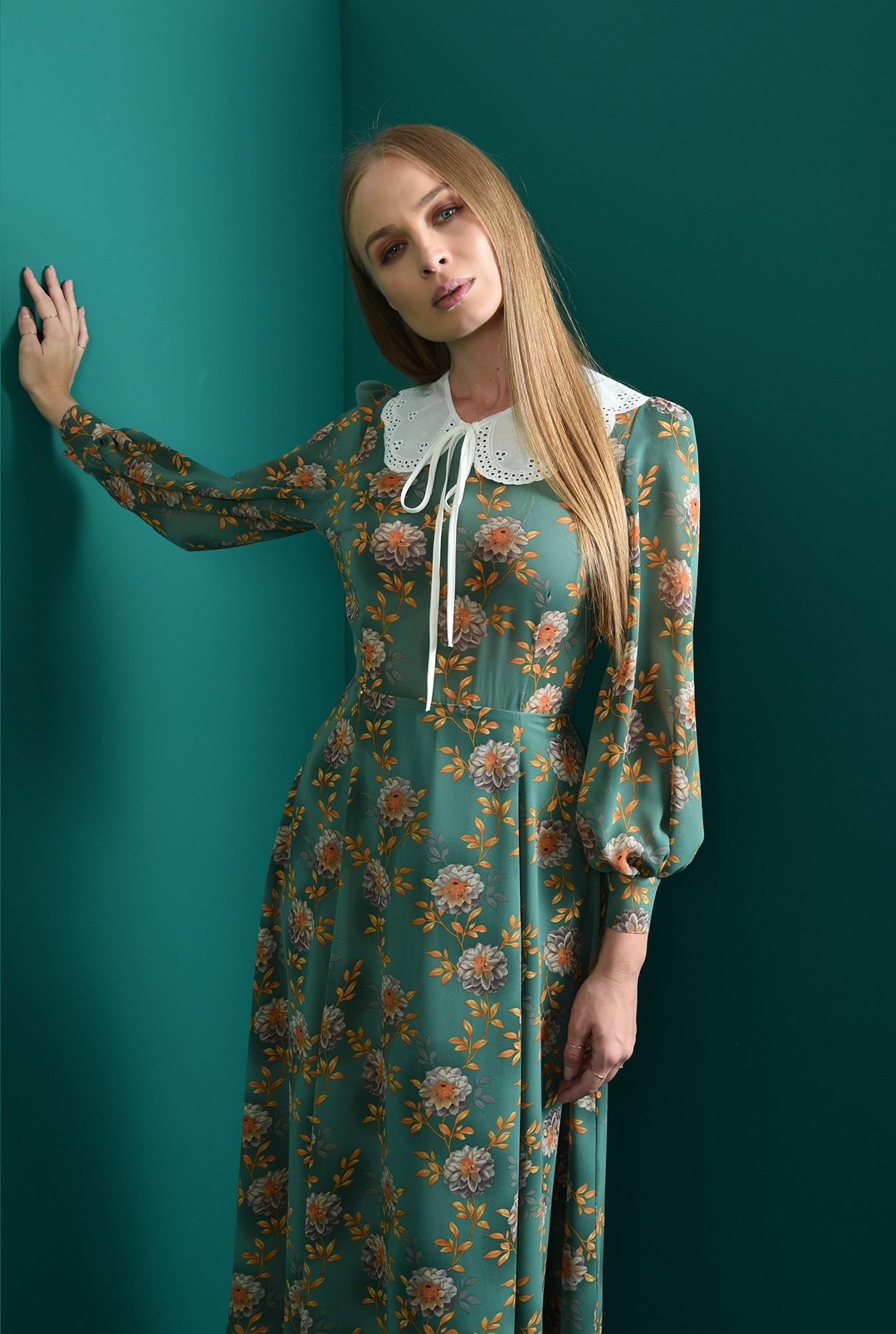 2 - rochie evazata, verde, cu guler aplicat