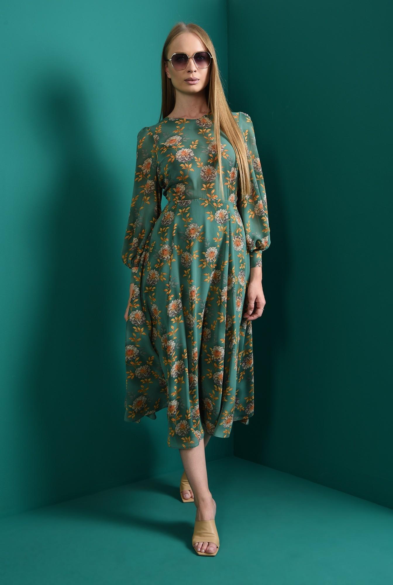 1 - rochie evazata, verde, cu guler aplicat