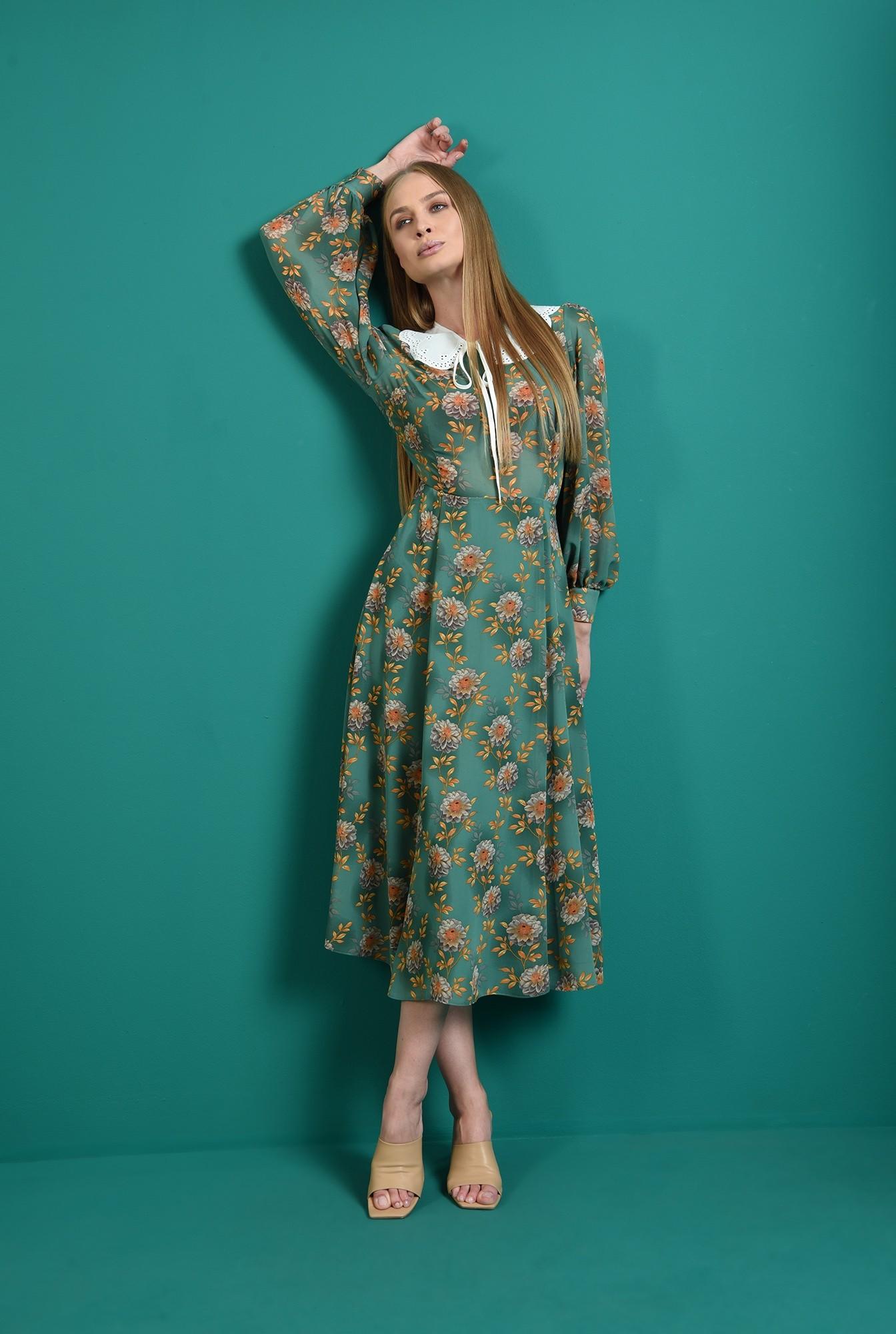0 - rochie evazata, verde, cu guler aplicat