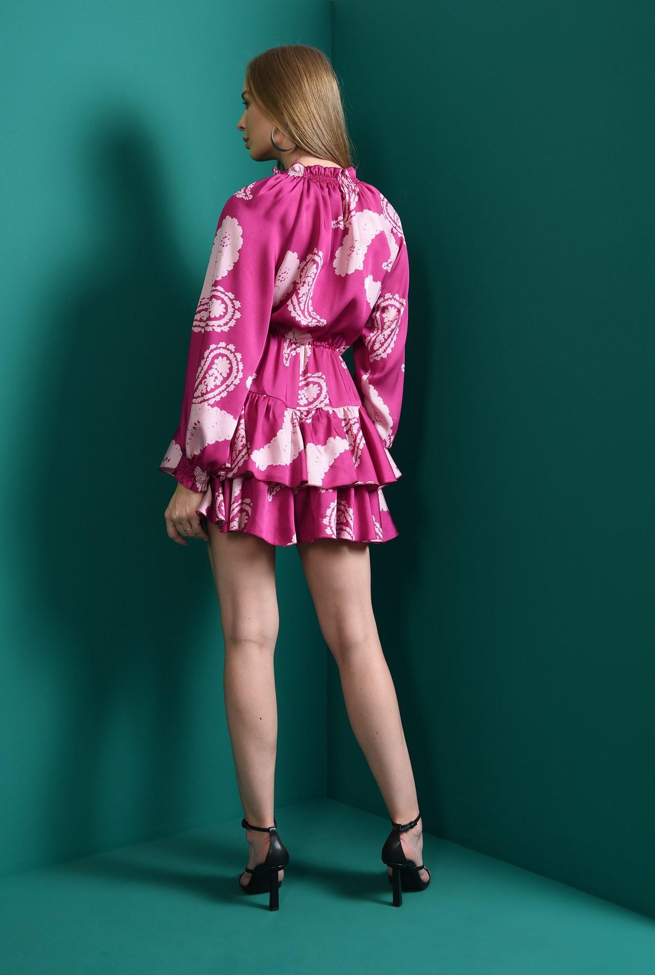 2 - rochie casual, magenta, cu volane
