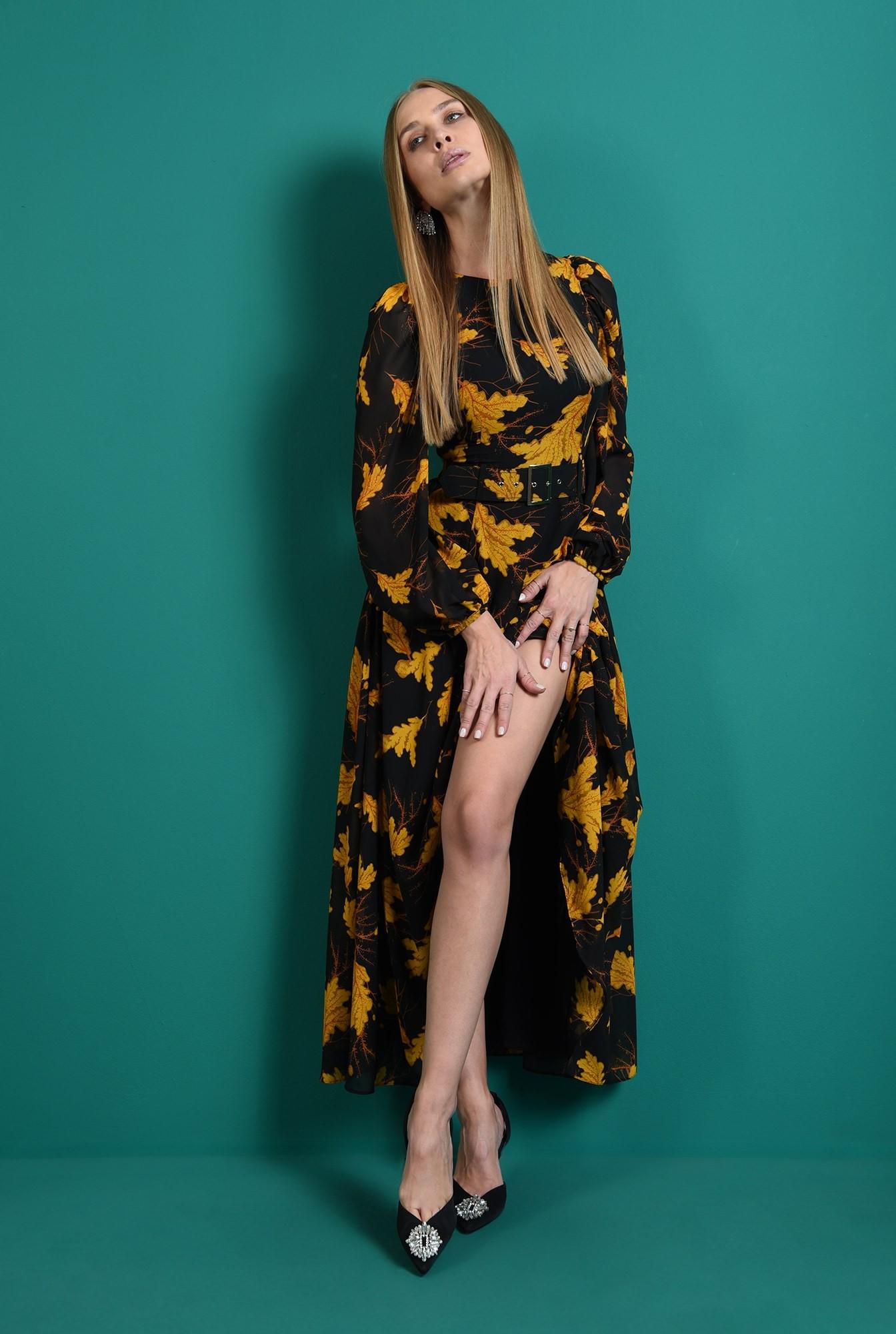 2 - rochie maxi, cu centura, cu imprimeu