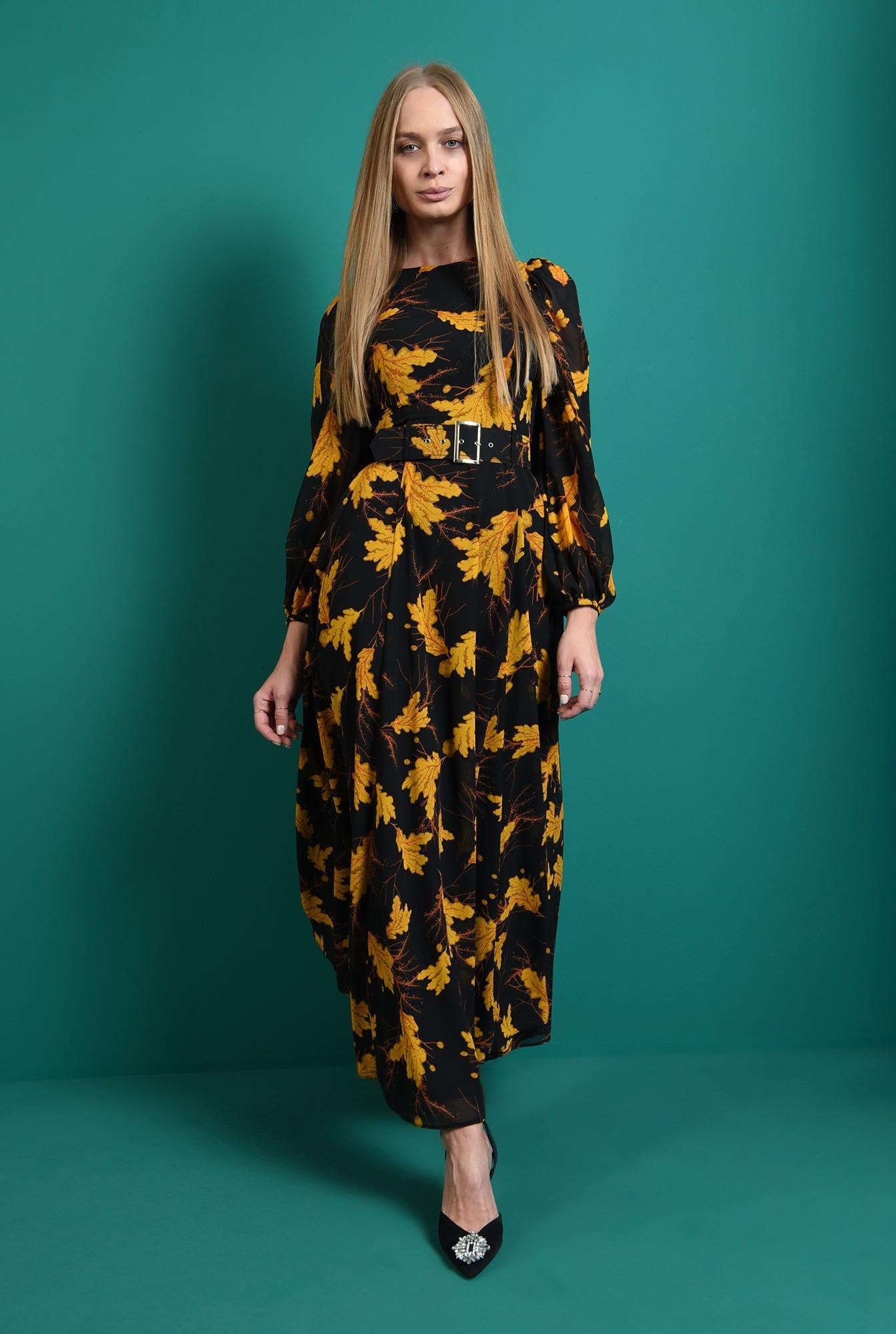 0 - rochie maxi, cu centura, cu imprimeu