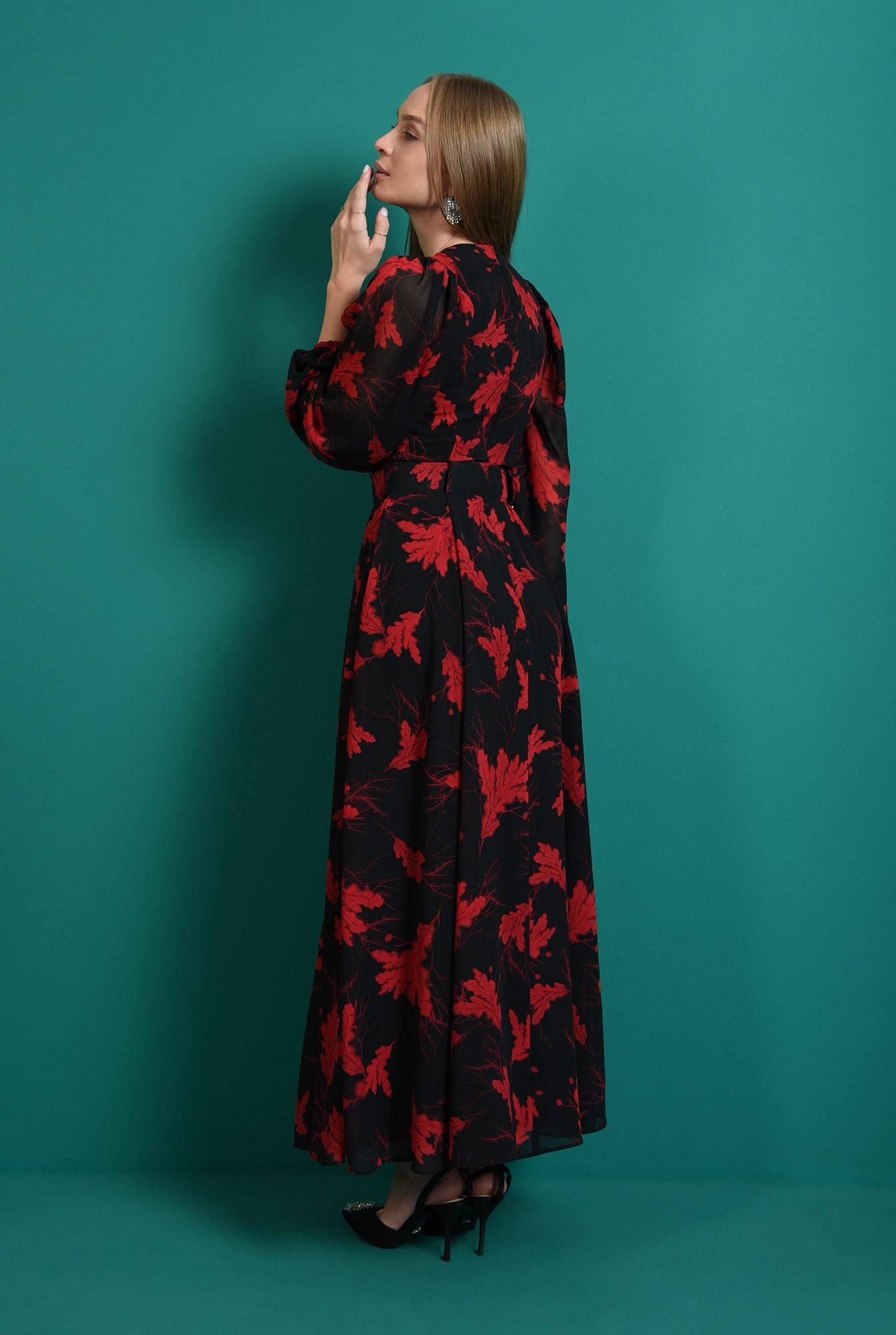 2 - rochie lunga, neagra, cu motive florale