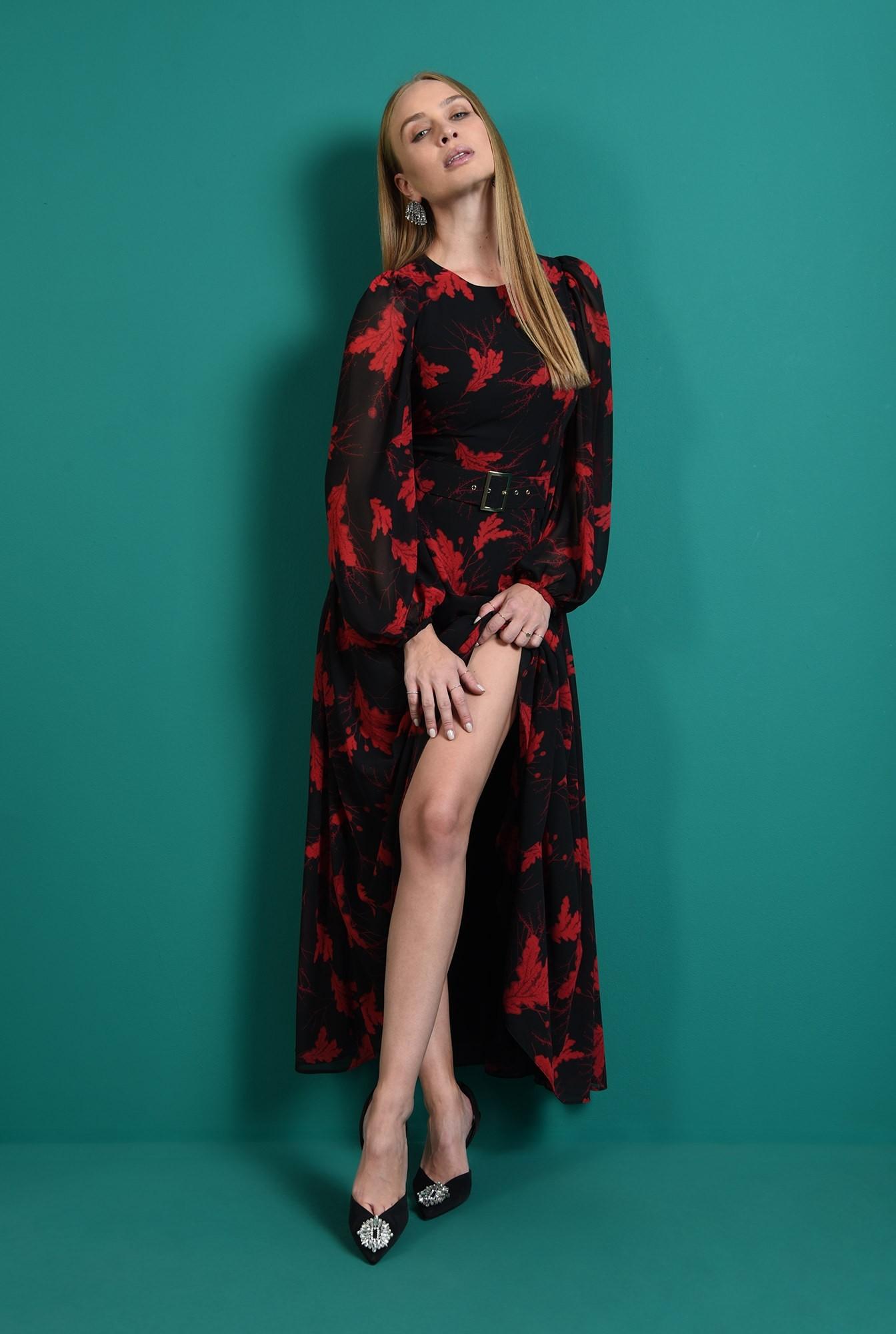 0 - rochie lunga, neagra, cu motive florale