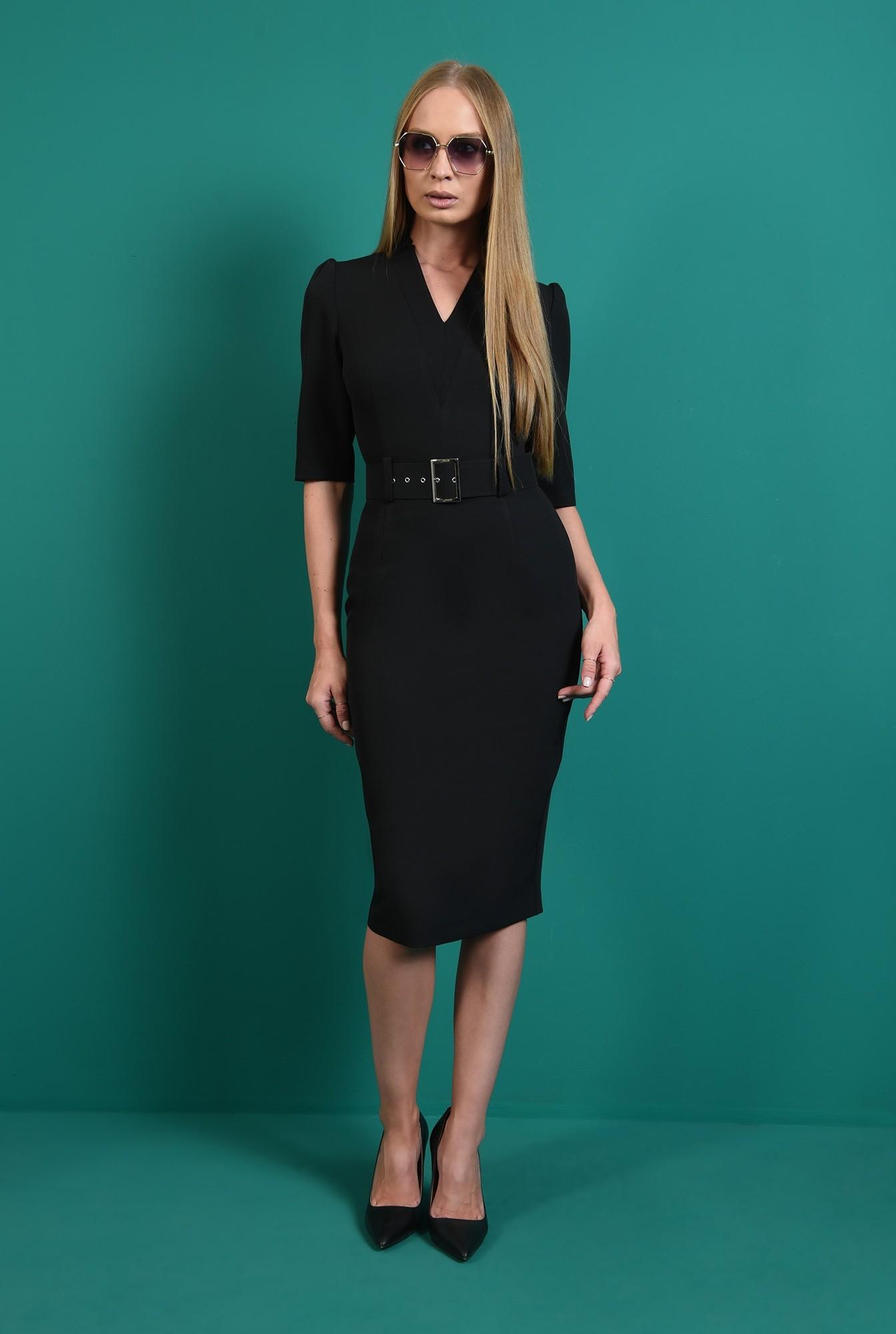 0 - rochie neagra, conica, cu revere crestate