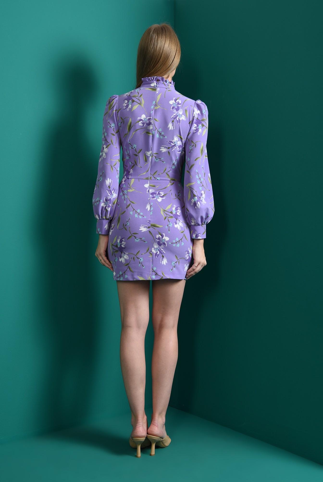 1 - rochie lila, cambrata, cu motive florale