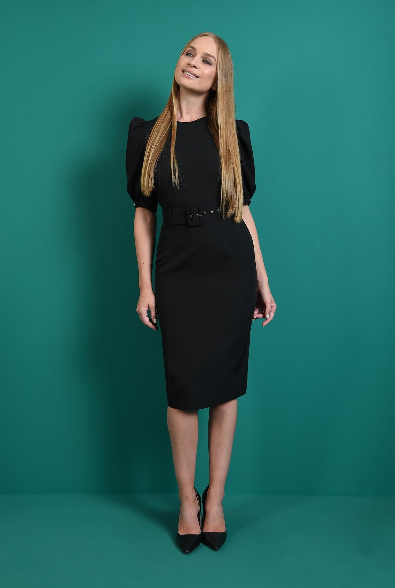 1 - rochie office, neagra, cu maneca bufanta