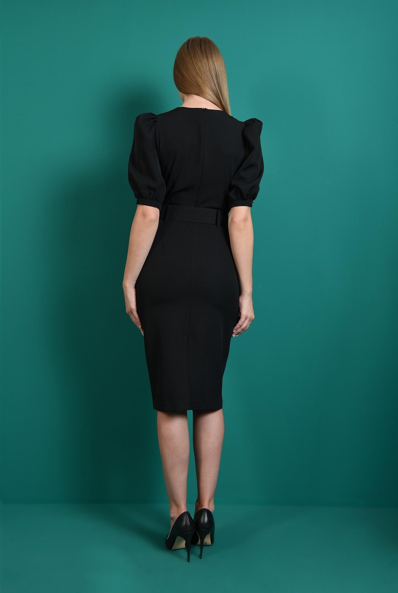 2 - rochie office, neagra, cu maneca bufanta
