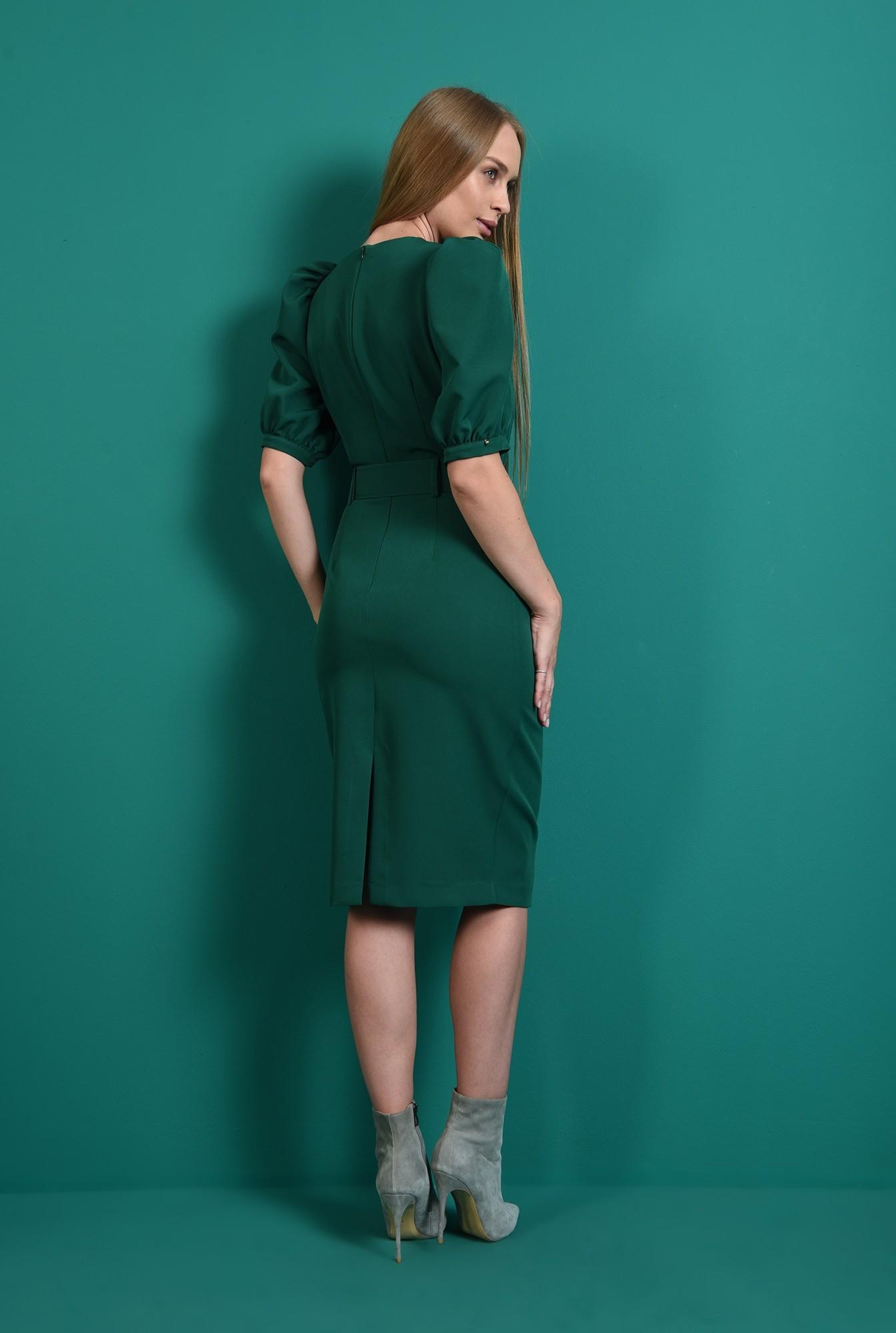 1 - rochie office, cu centura, cu maneca voluminoasa