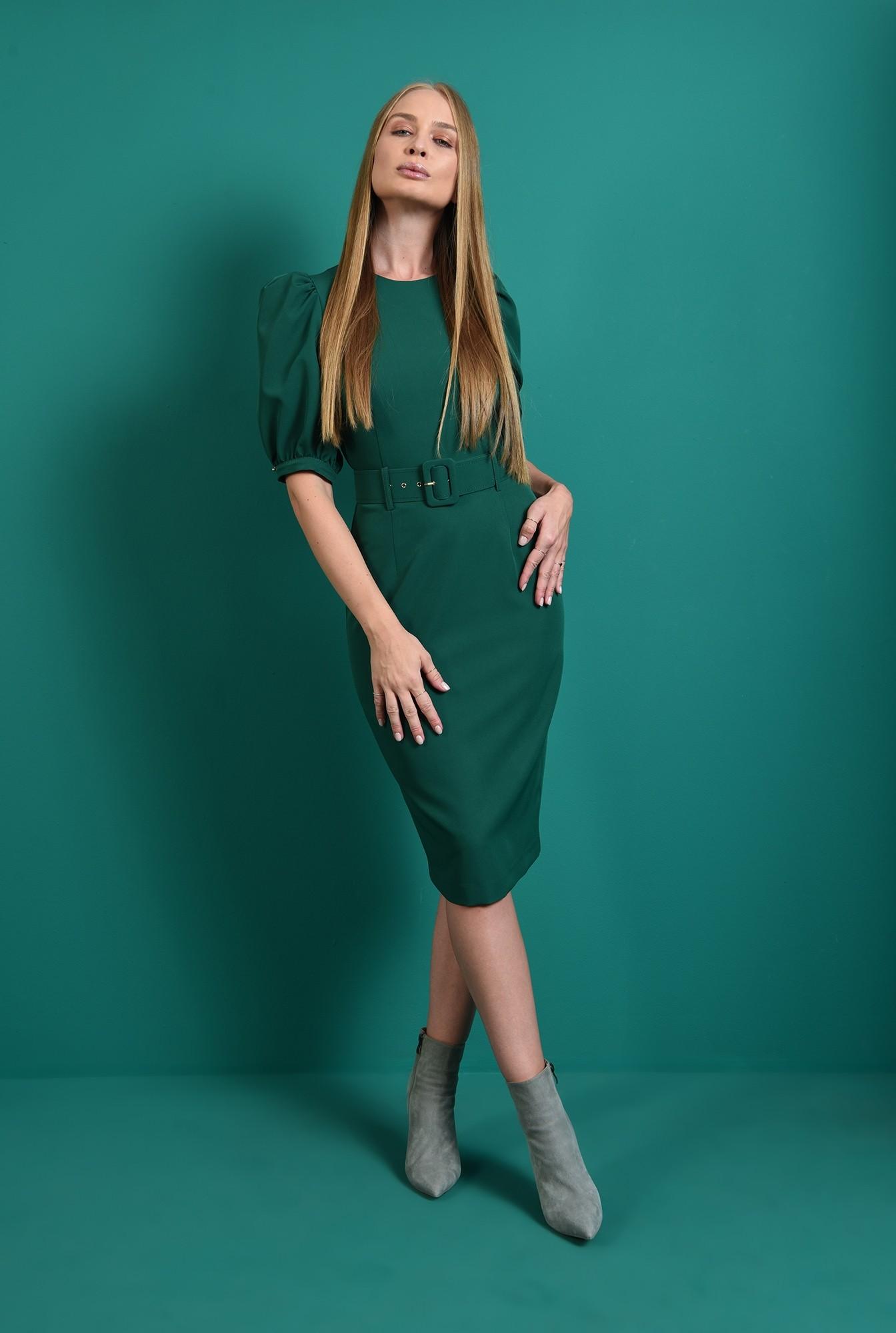 0 - rochie office, cu centura, cu maneca voluminoasa