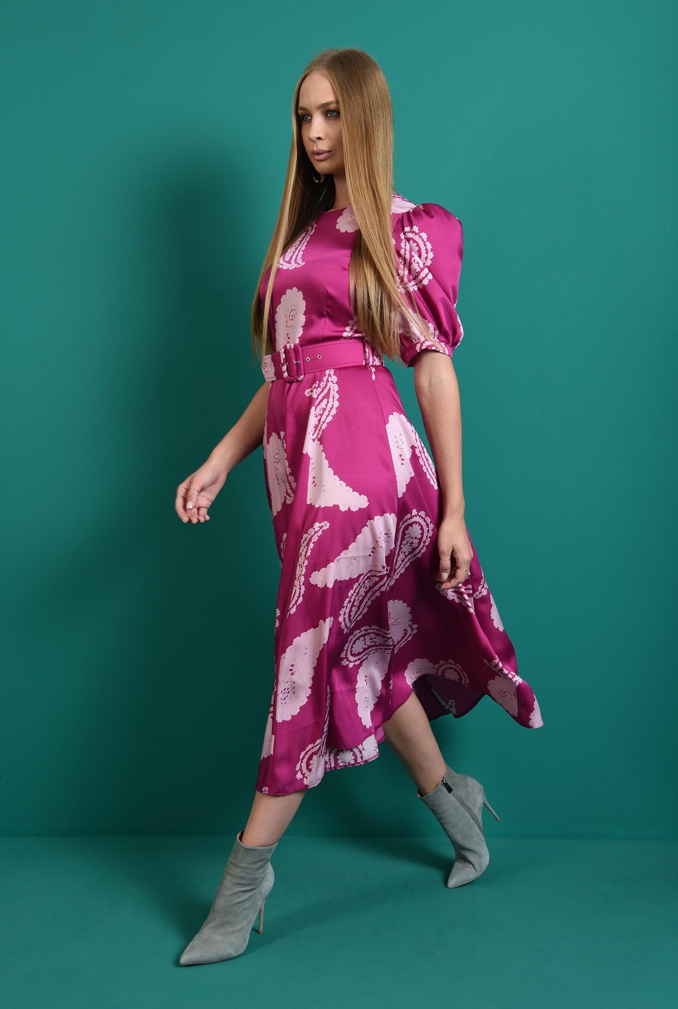 0 - rochie casual, cu centuta, cu maneca voluminoasa