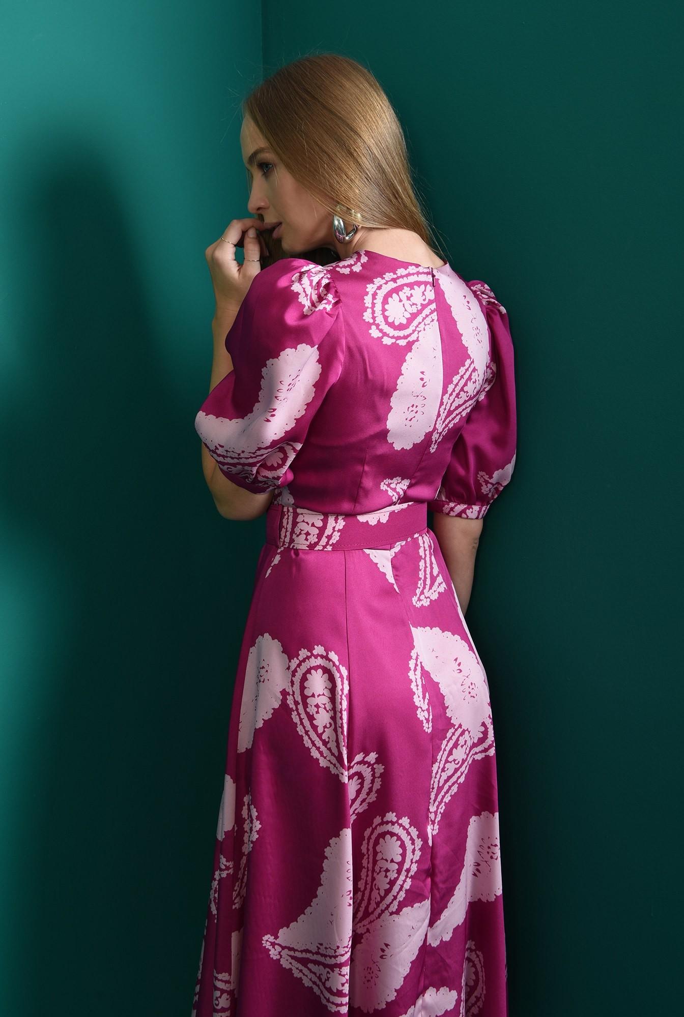 2 - rochie casual, cu centuta, cu maneca voluminoasa